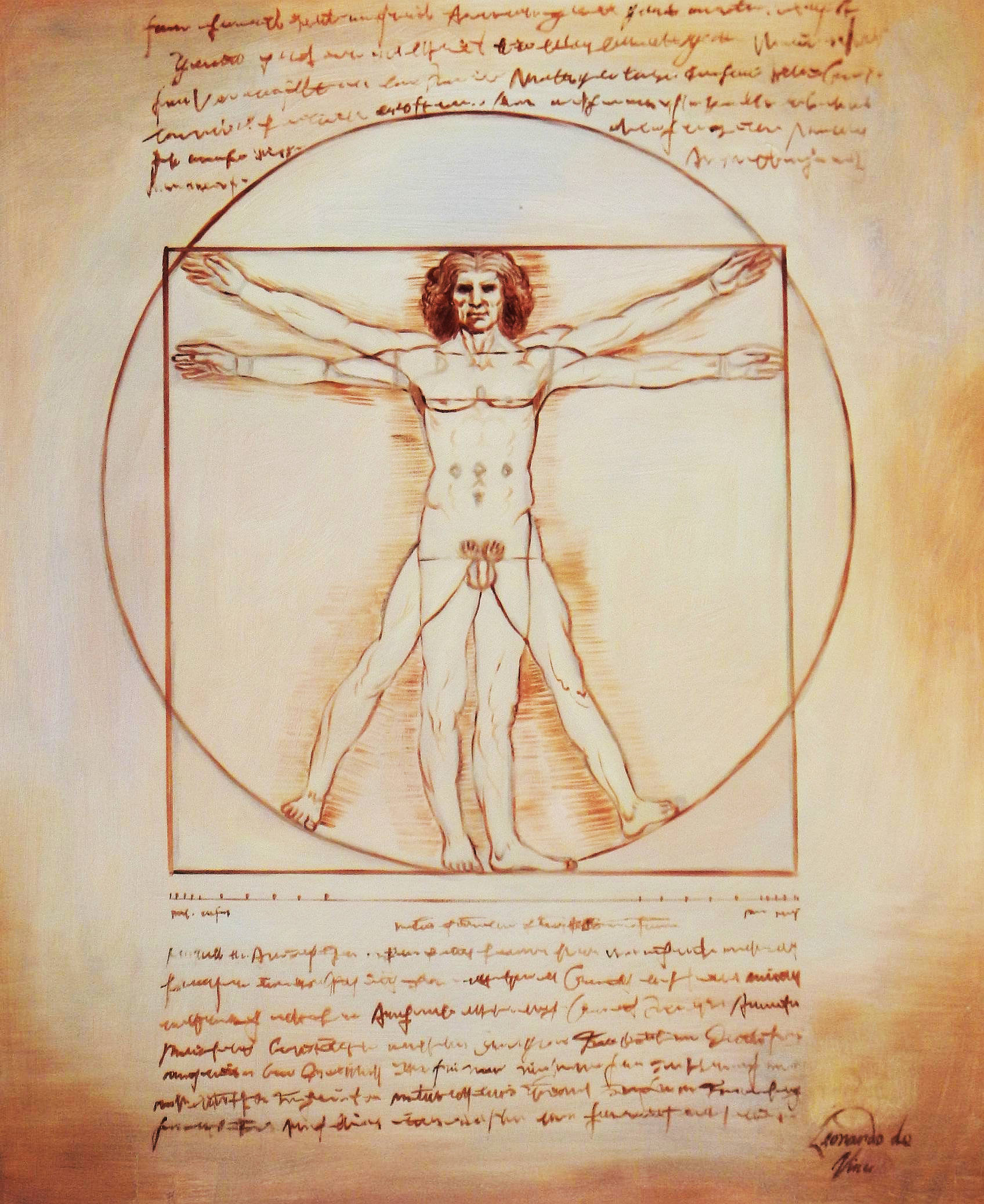 Leonardo da Vinci - Proportionsstudie c93888 50x60cm handgemaltes Ölgemälde