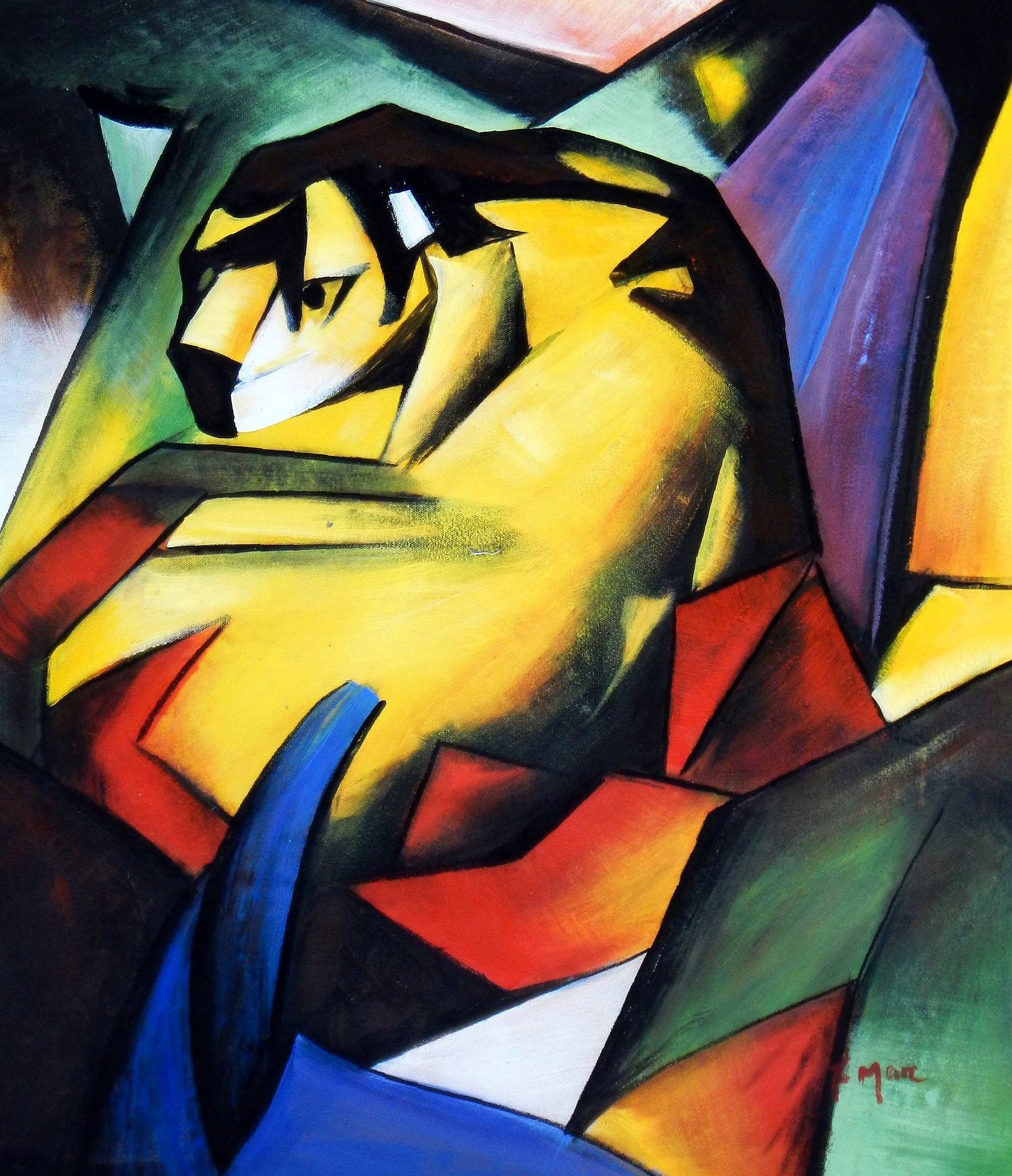 Franz Marc - Der Tiger c93894 50x60cm Expressionismus Ölgemälde handgemalt
