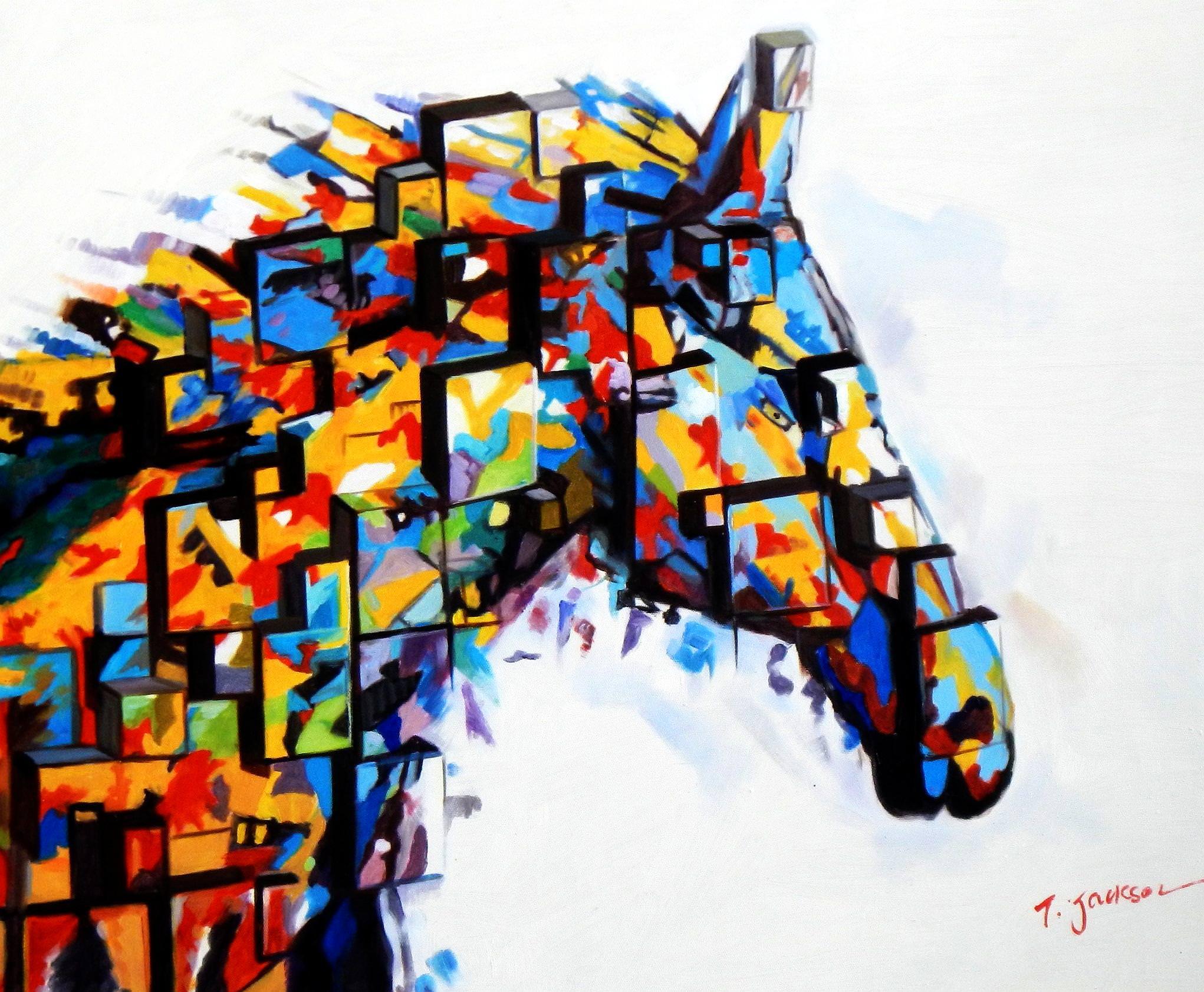 Abstract - The Cubist Stallion c93902 50x60cm exquisites Ölbild