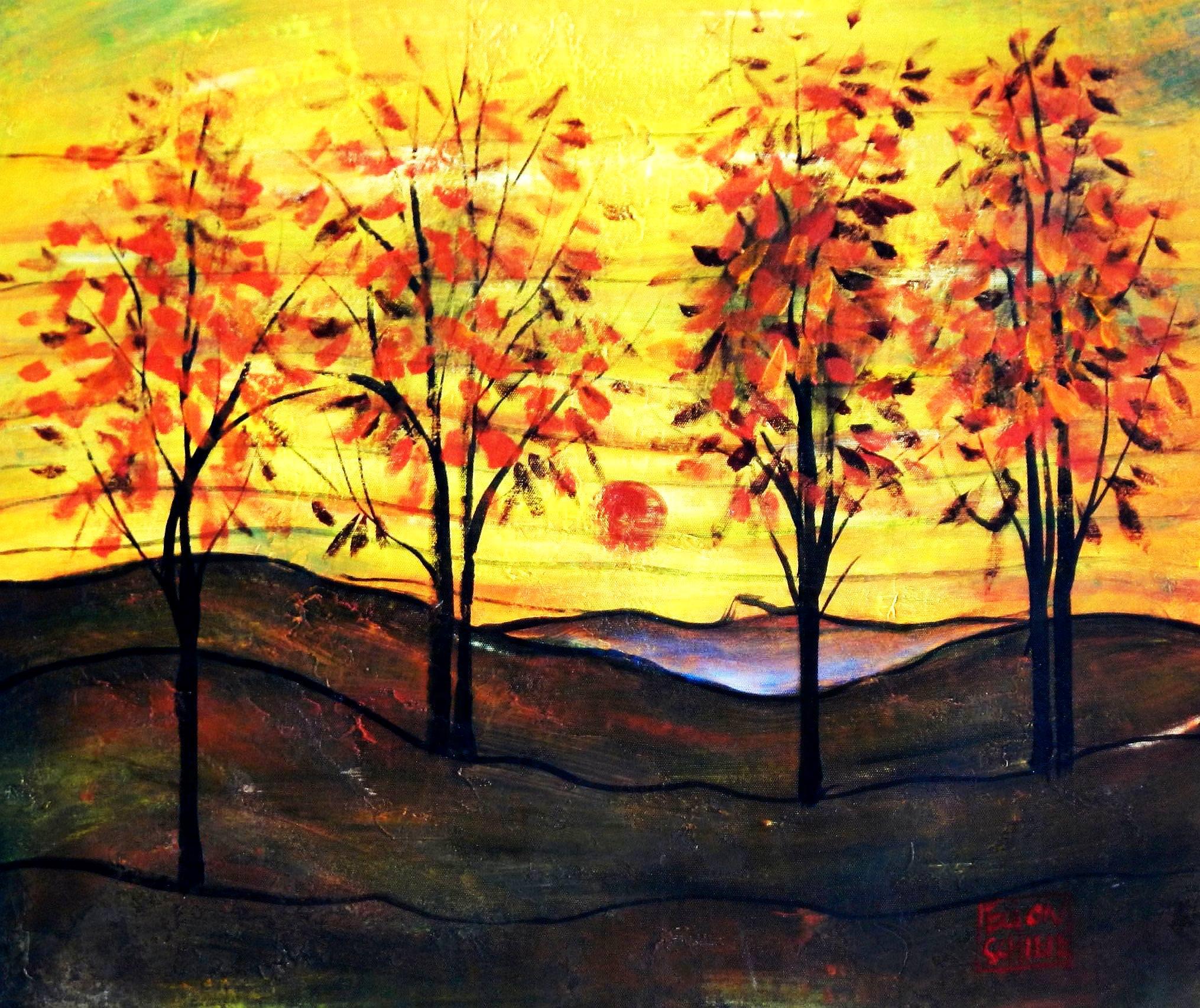 Egon Schiele - Vier Bäume c93903 G 50x60cm exzellentes Ölbild