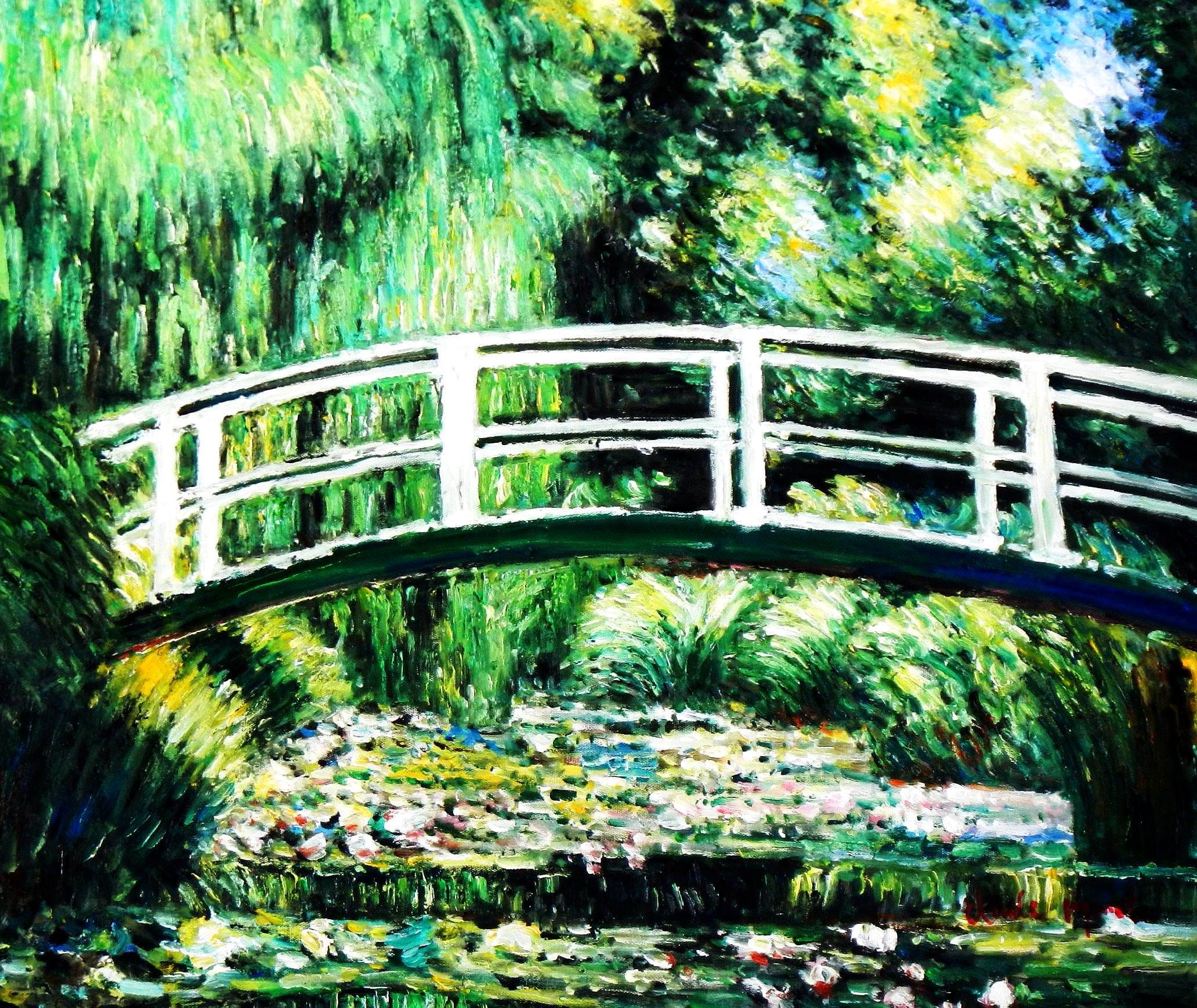 Claude Monet - Brücke über dem Seerosenteich c93910 50x60cm Ölbild handgemalt