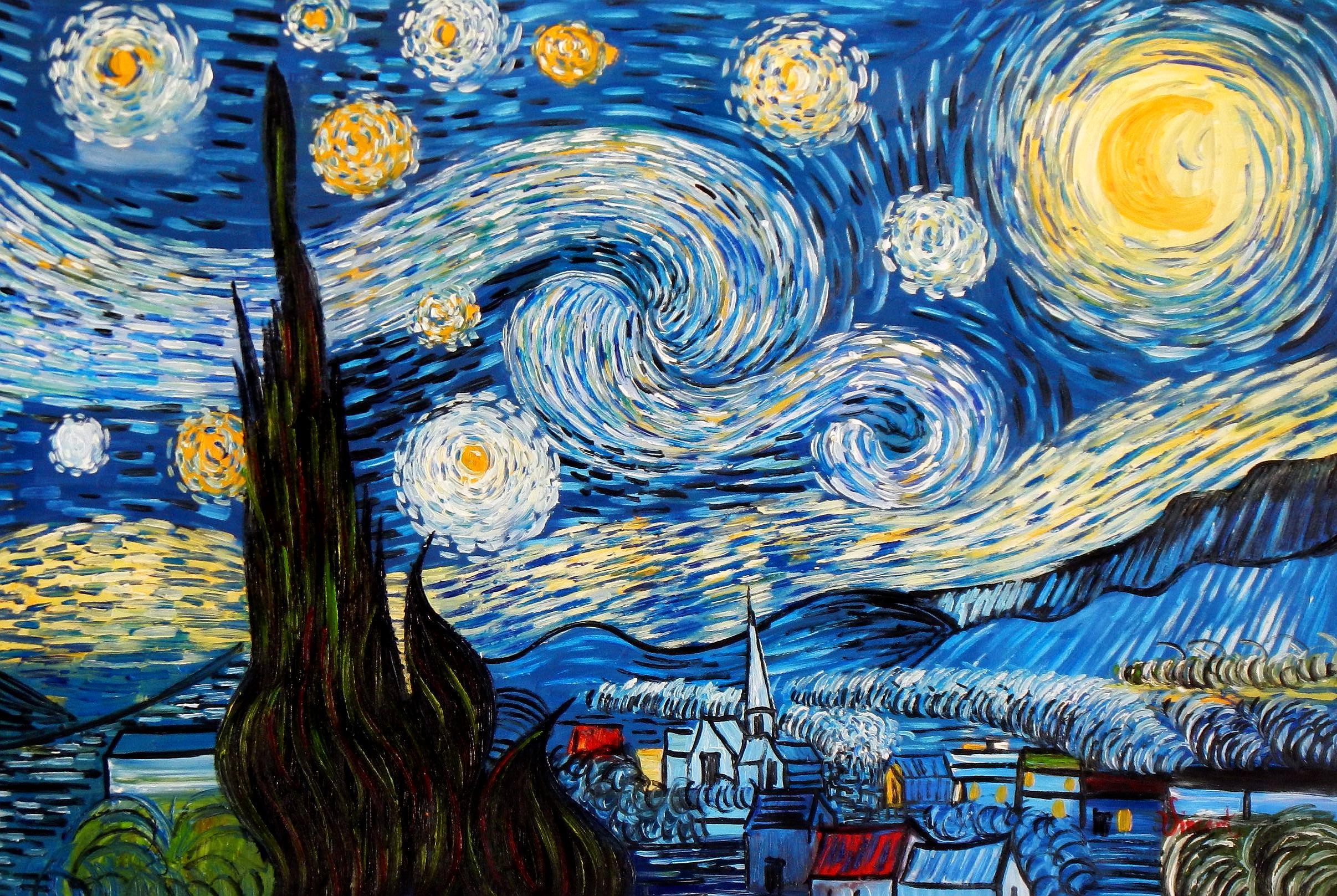 Vincent van Gogh - Sternennacht d93926 60x90cm exzellentes Ölgemälde ...