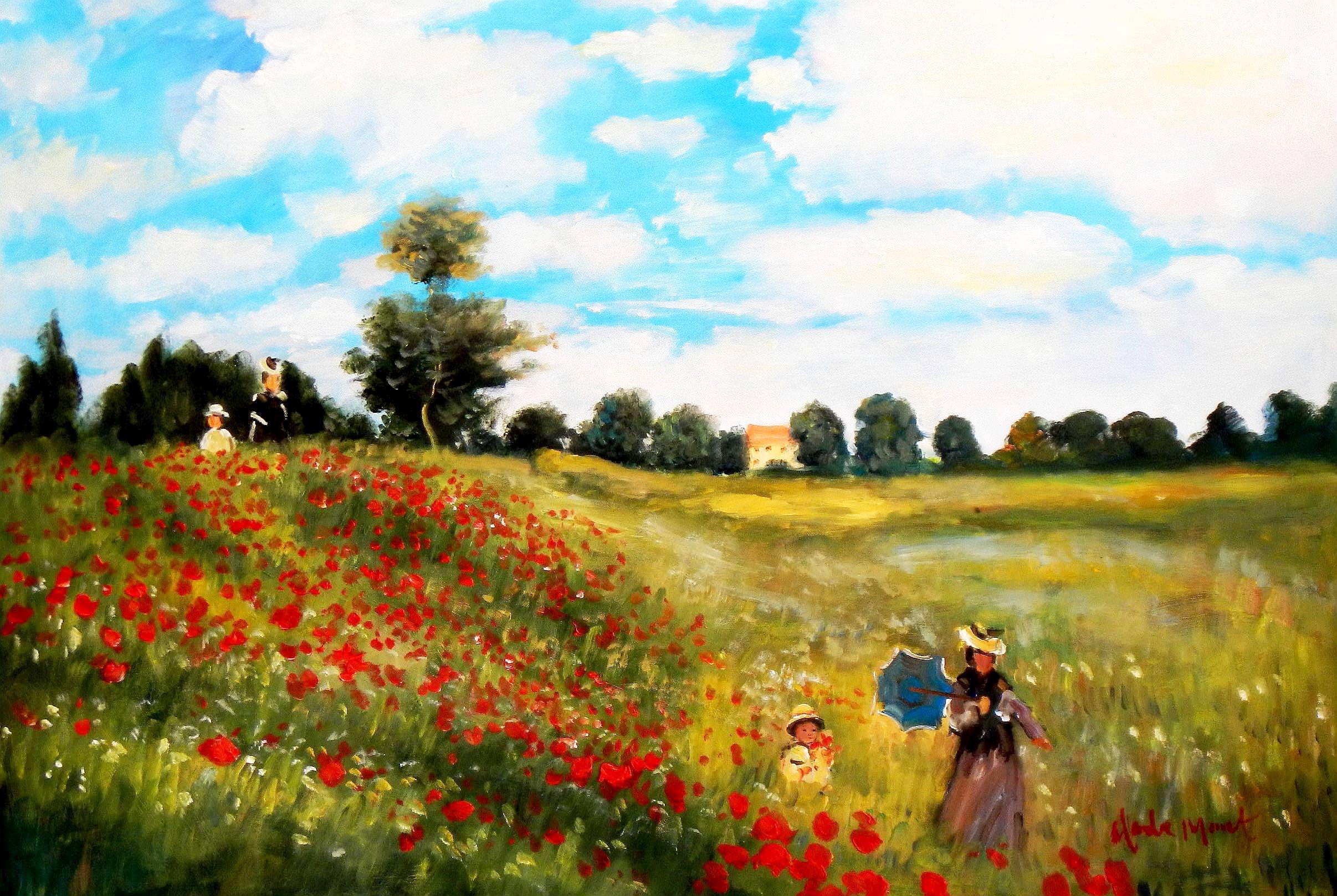 Claude Monet - Mohnfeld bei Argenteuil d93933 60x90cm exzellentes Ölbild