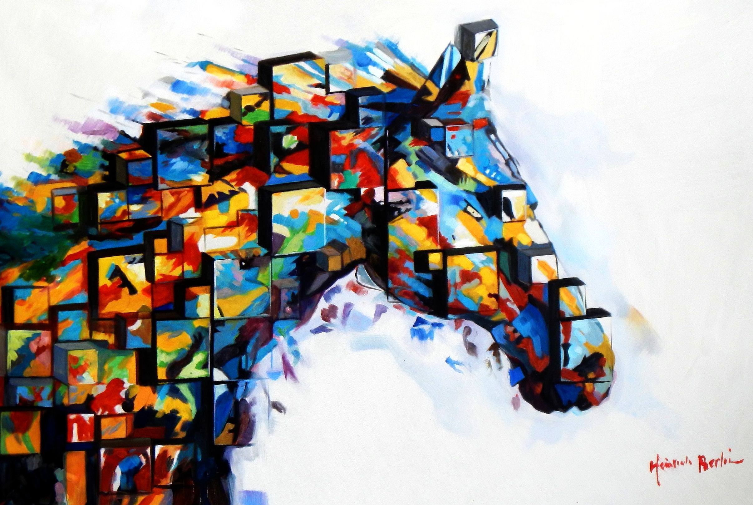 Abstract - The Cubist Stallion d93936 G 60x90cm exquisites Ölbild
