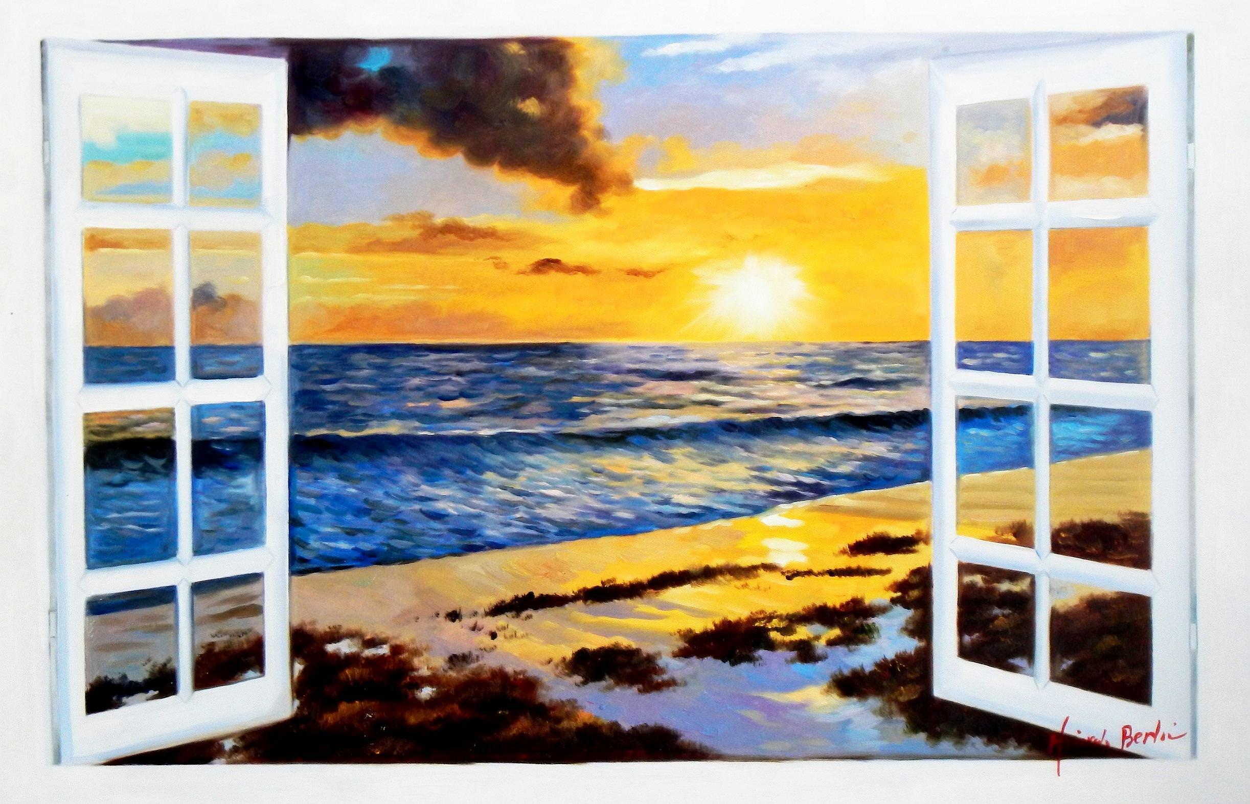 Modern Art - Sonnenuntergang auf Sylt d93942 60x90cm Ölbild handgemalt
