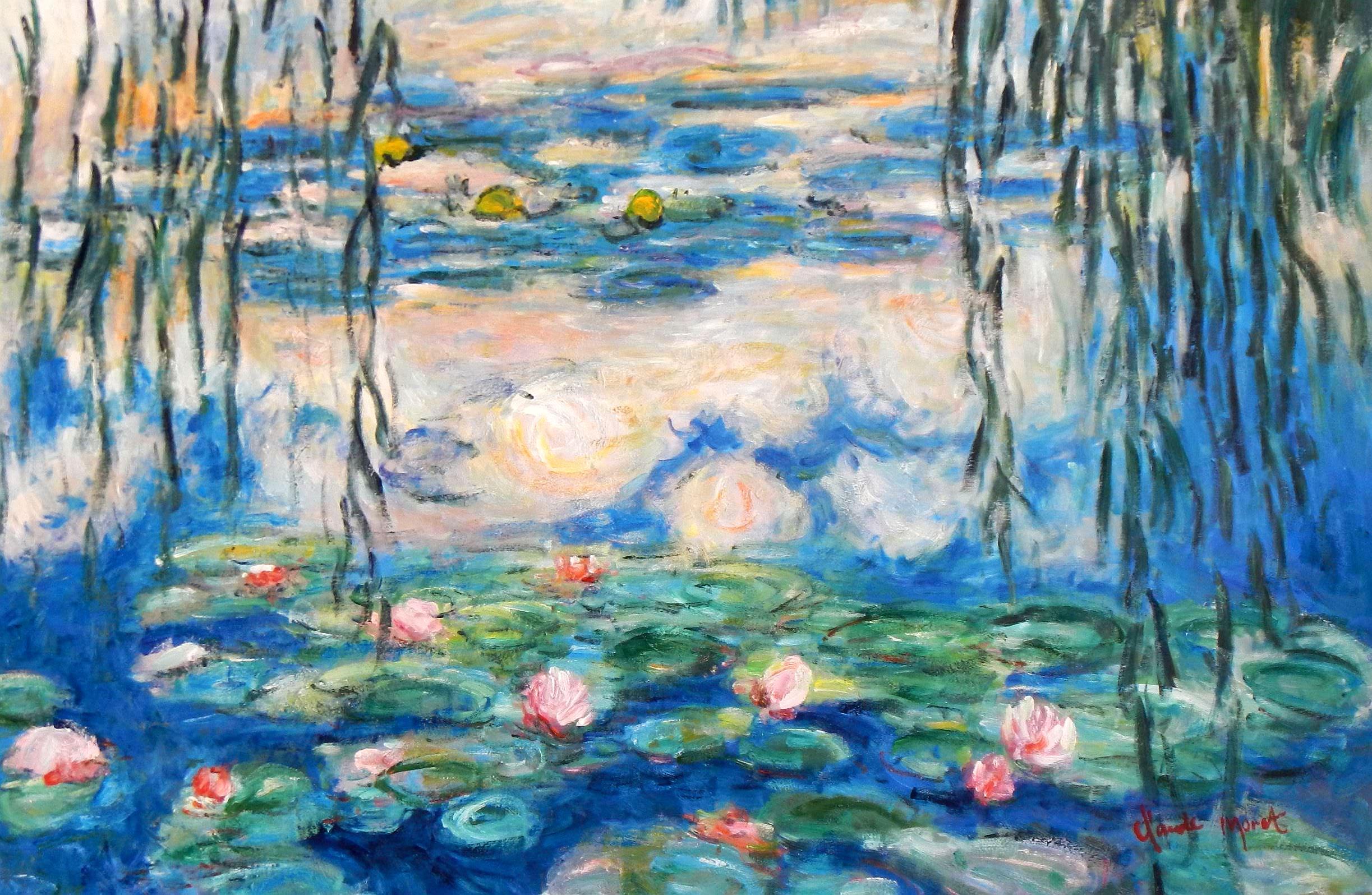 Claude Monet - Seerosen & Weiden d93945 60x90cm Ölbild handgemalt