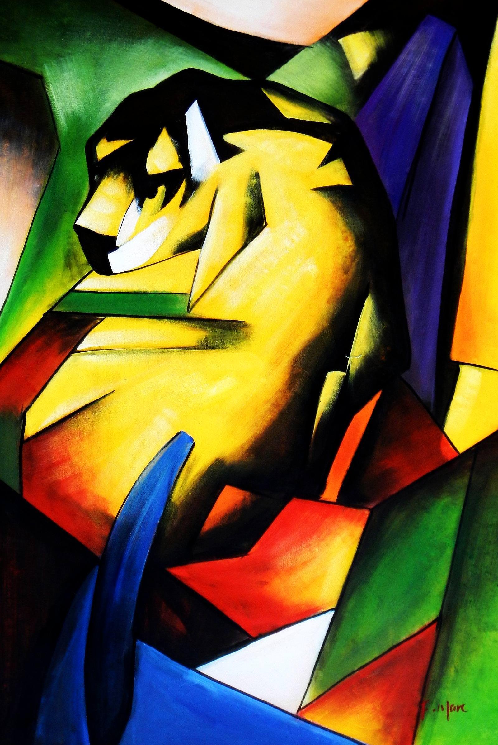 Franz Marc - Der Tiger d93950 60x90cm Expressionismus Ölgemälde handgemalt