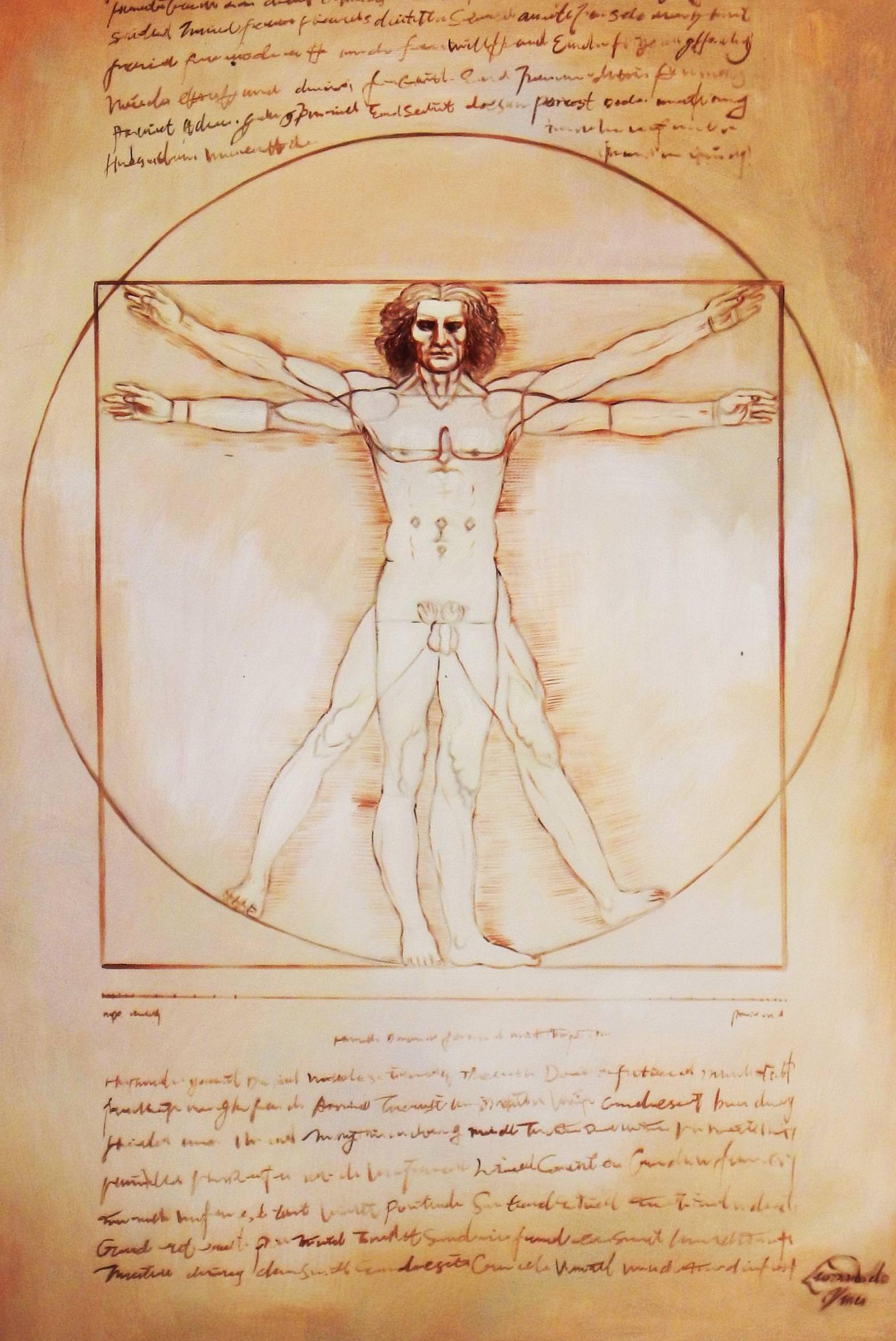 Leonardo da Vinci - Proportionsstudie d93959 60x90cm handgemaltes Ölgemälde