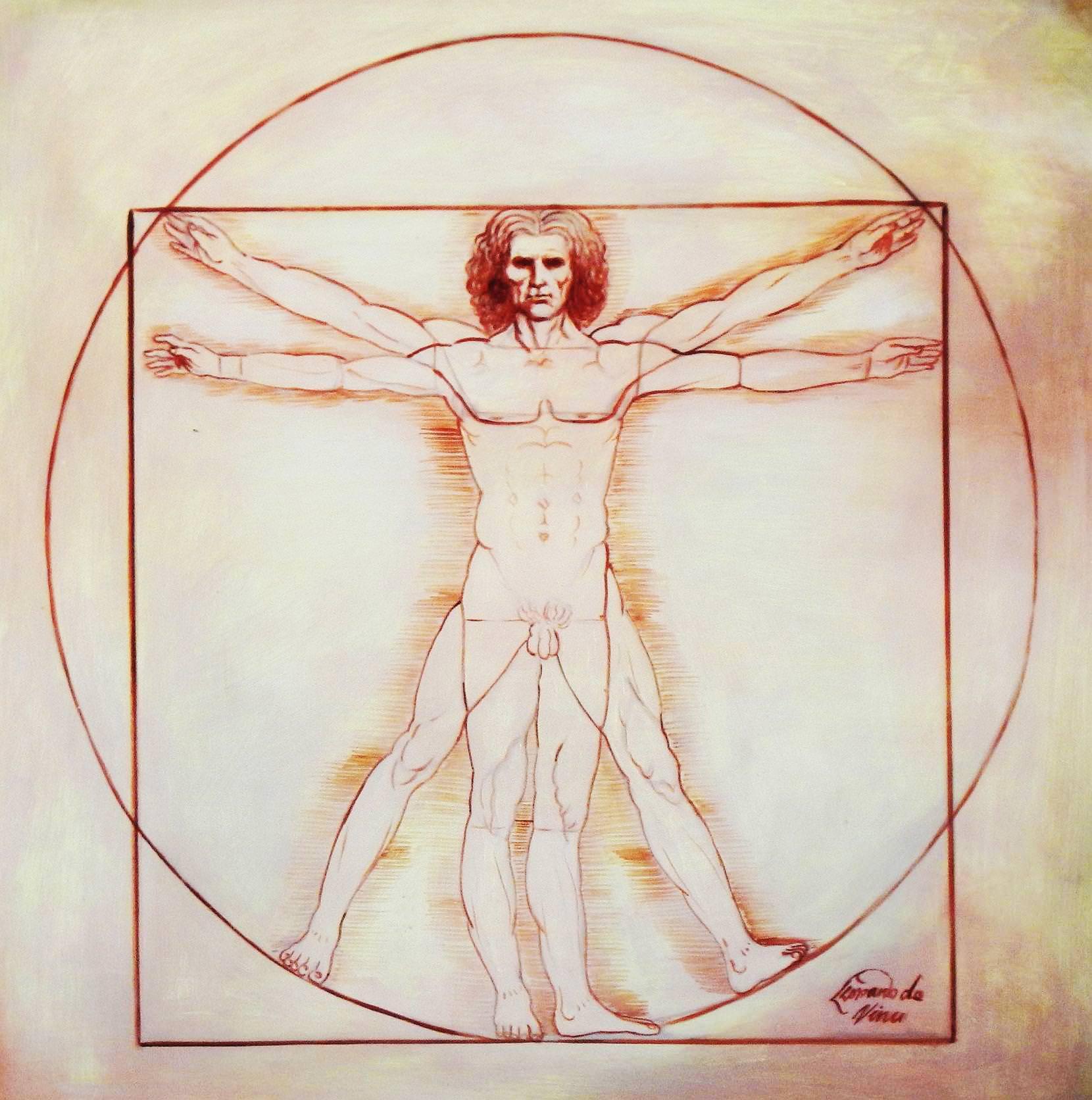 Leonardo da Vinci - Proportionsstudie e93967 60x60cm handgemaltes Ölgemälde