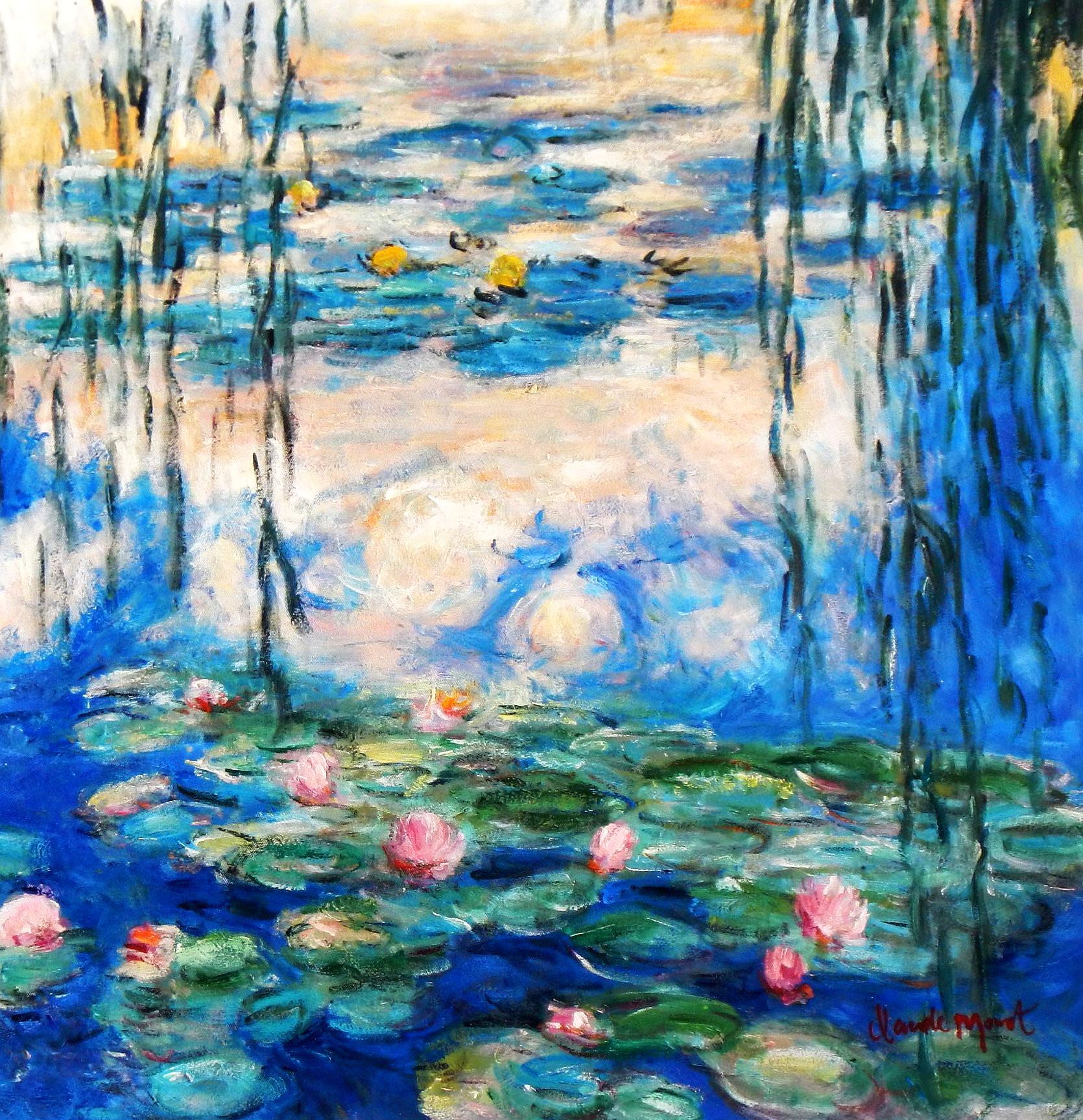 Claude Monet - Seerosen & Weiden e93976 60x60cm Ölbild handgemalt
