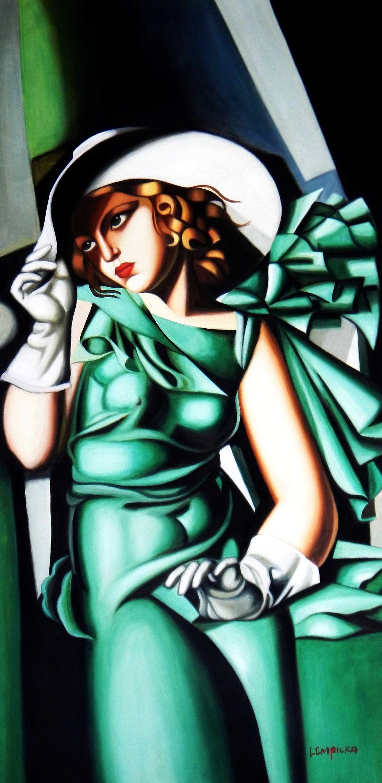 Homage to T. de Lempicka - Mädchen in Grün mit Handschuhen f93979 60x120cm Ölbild
