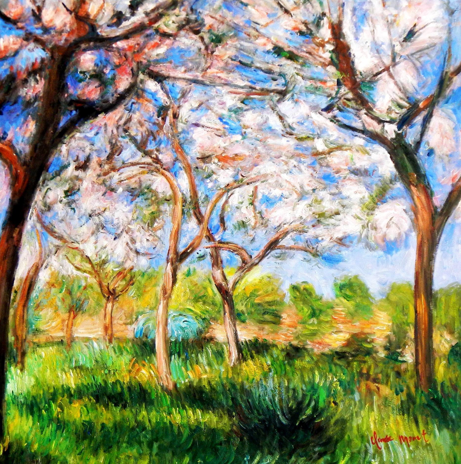 Claude Monet - Frühling in Giverny g94004 80x80cm exzellentes Ölgemälde