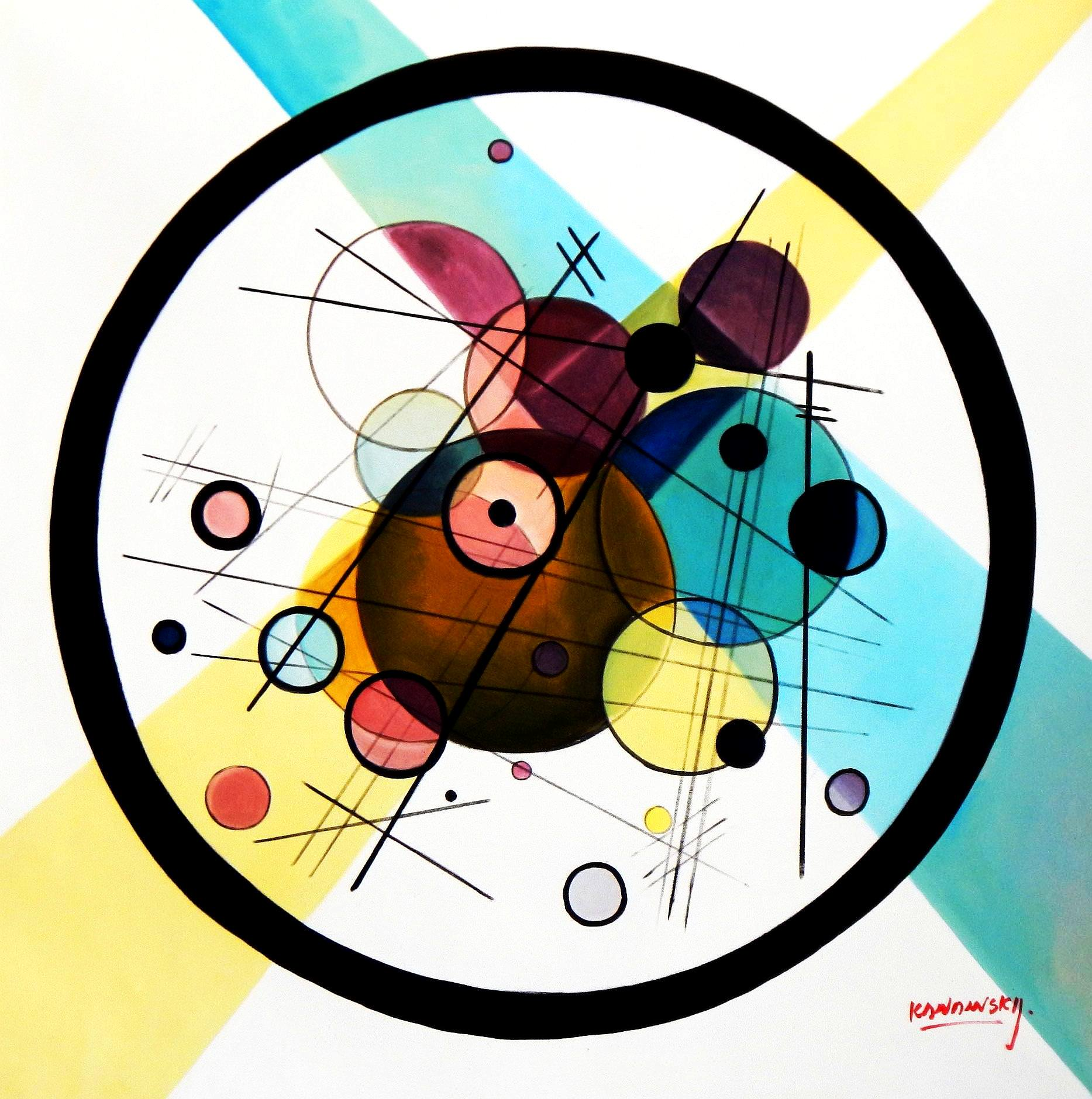 Homage to Kandinsky - Variation der Querlinie g94007 80x80cm exquisites Gemälde