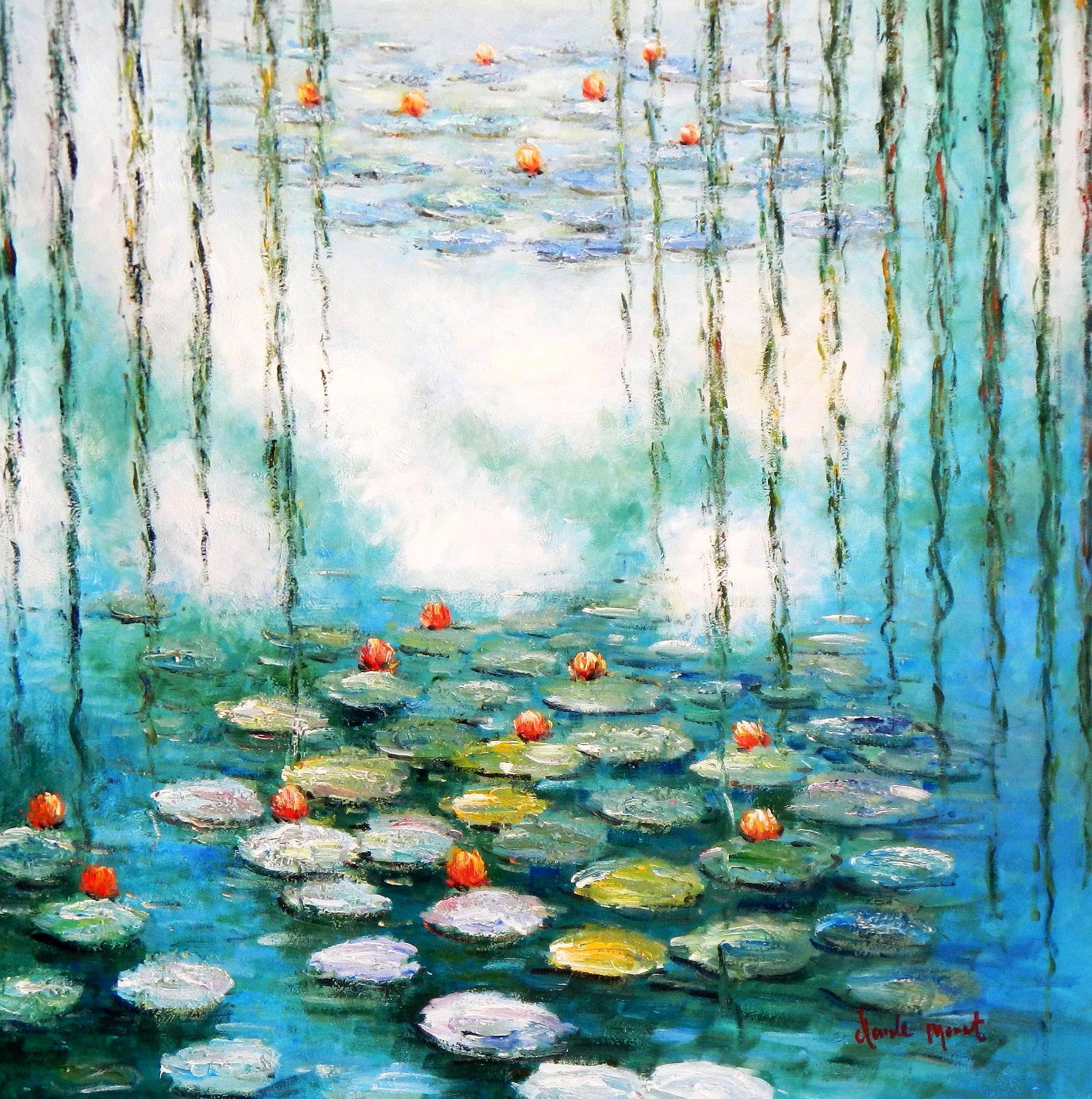 Claude Monet - Seerosen & Weiden Spezialausführung mintgrün g94013 80x80cm Ölbild handgemalt