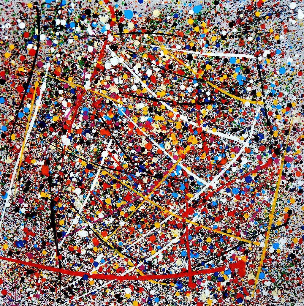 Homage of Pollock - Number 12 g94019 80x80cm abstraktes Ölgemälde handgemalt