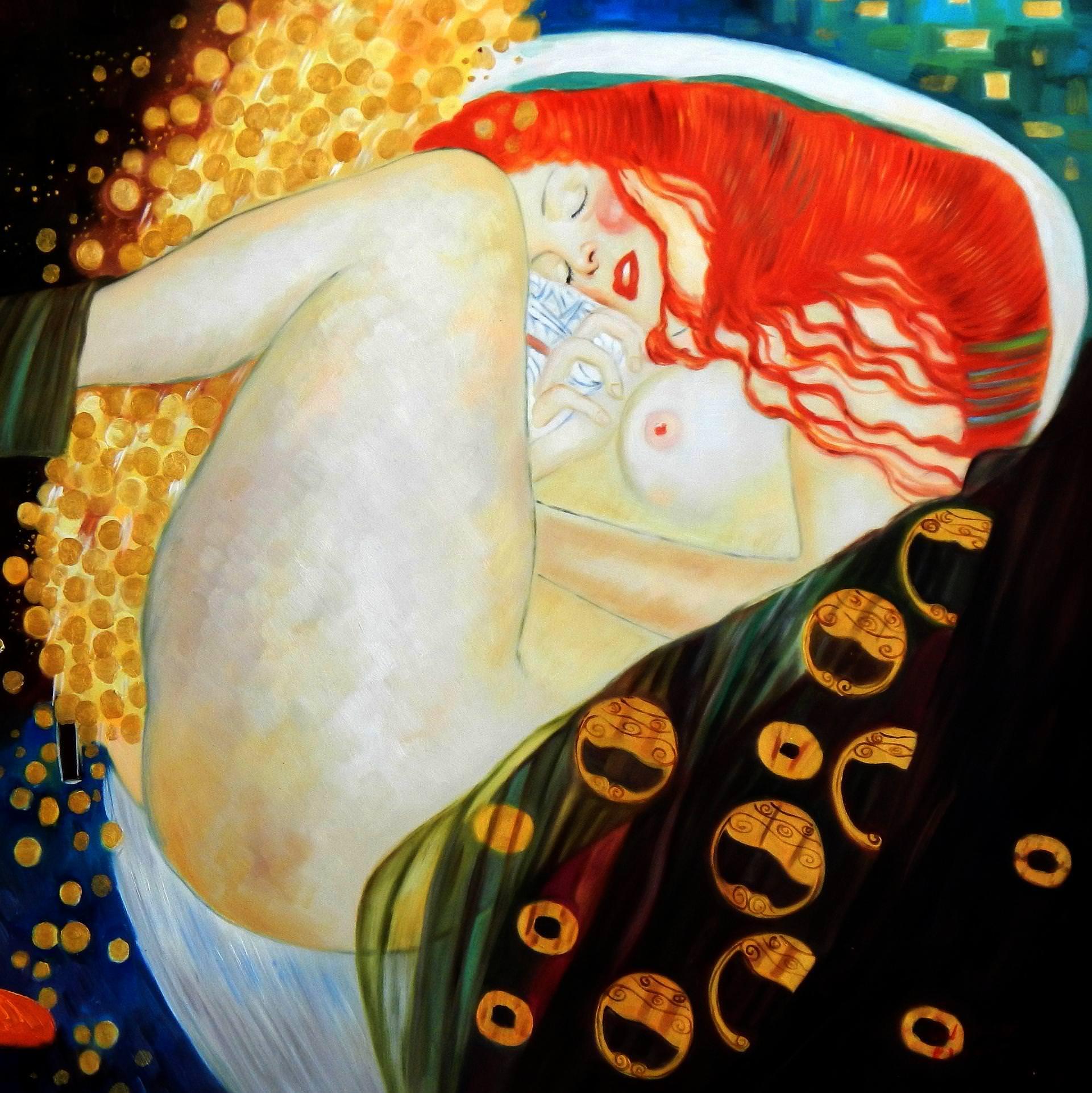 Gustav Klimt - Danae h94027 90x90cm exquisites Ölgemälde