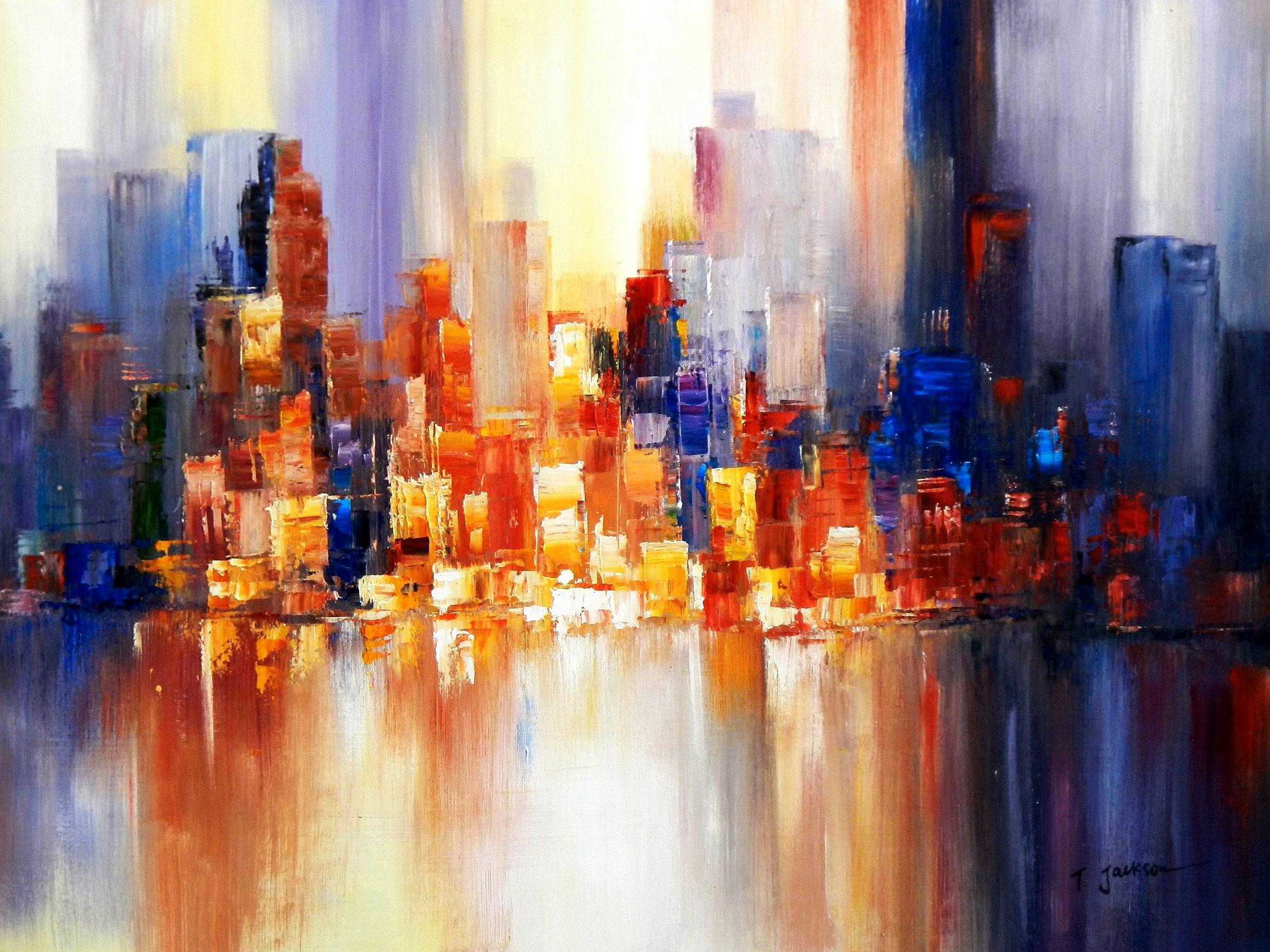 Abstrakt New York Manhattan Skyline im Frühling i94034 80x110cm eindrucksvolles Gemälde handgemalt