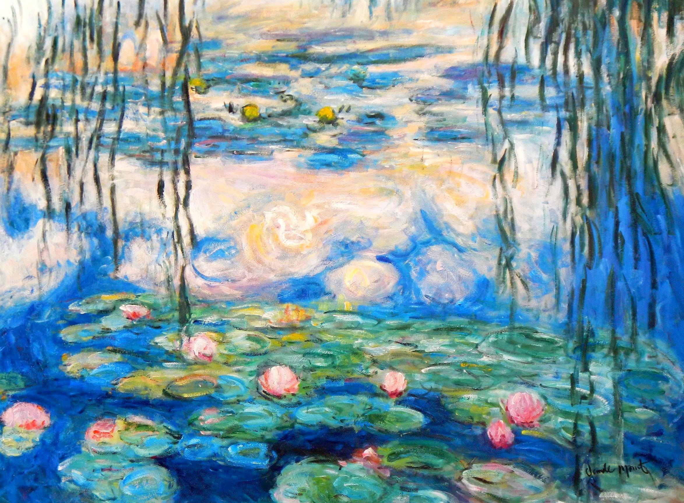 Claude Monet - Seerosen & Weiden i94050 80x110cm Ölbild handgemalt