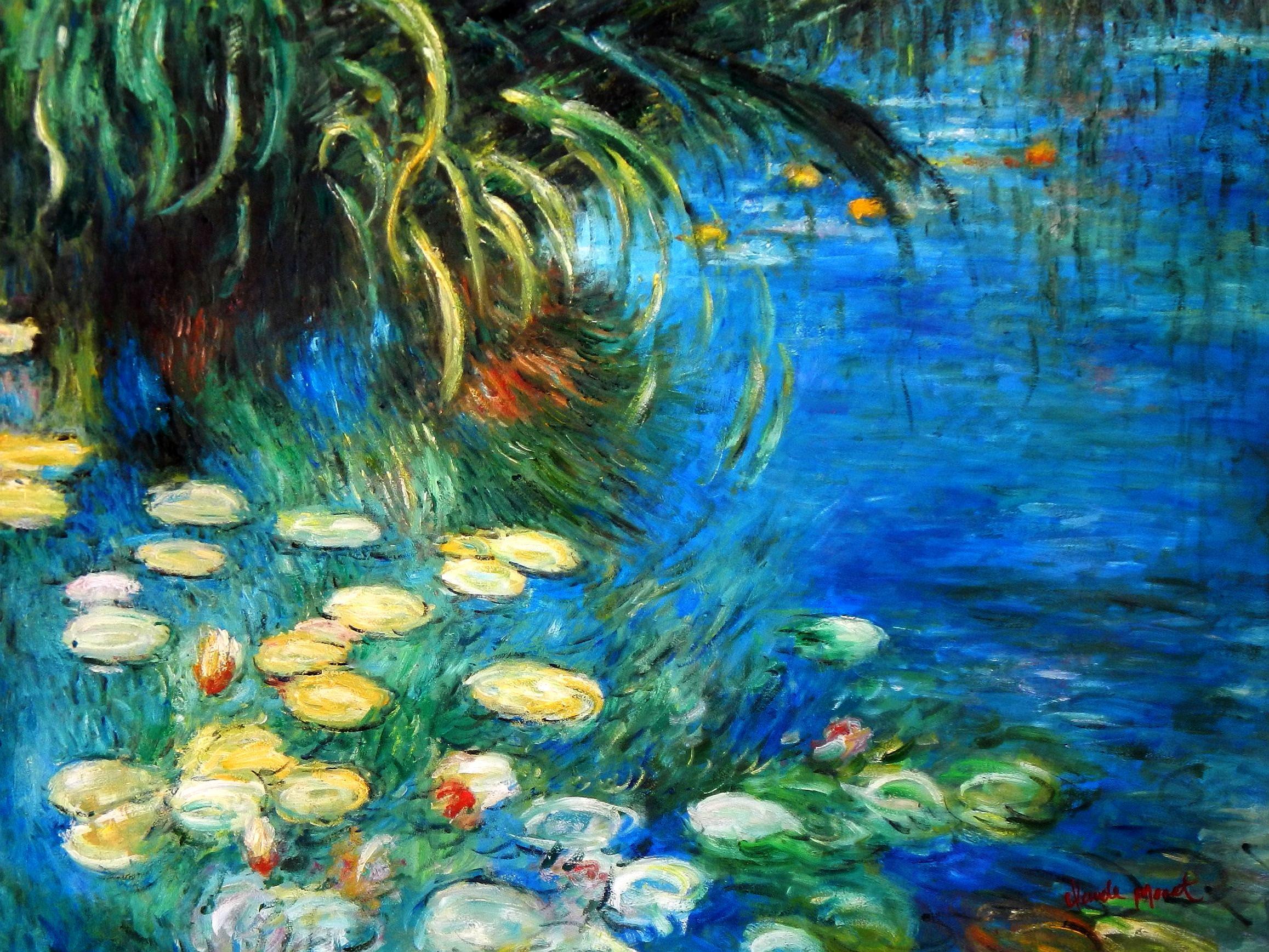 Claude Monet - Seerosen und Schilf k94062 90x120cm Ölgemälde handgemalt