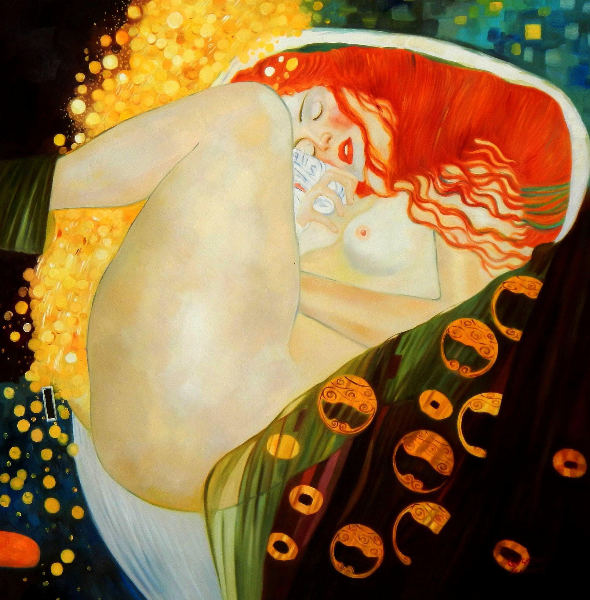 Gustav Klimt - Danae m94077 120x120cm exquisites Ölgemälde