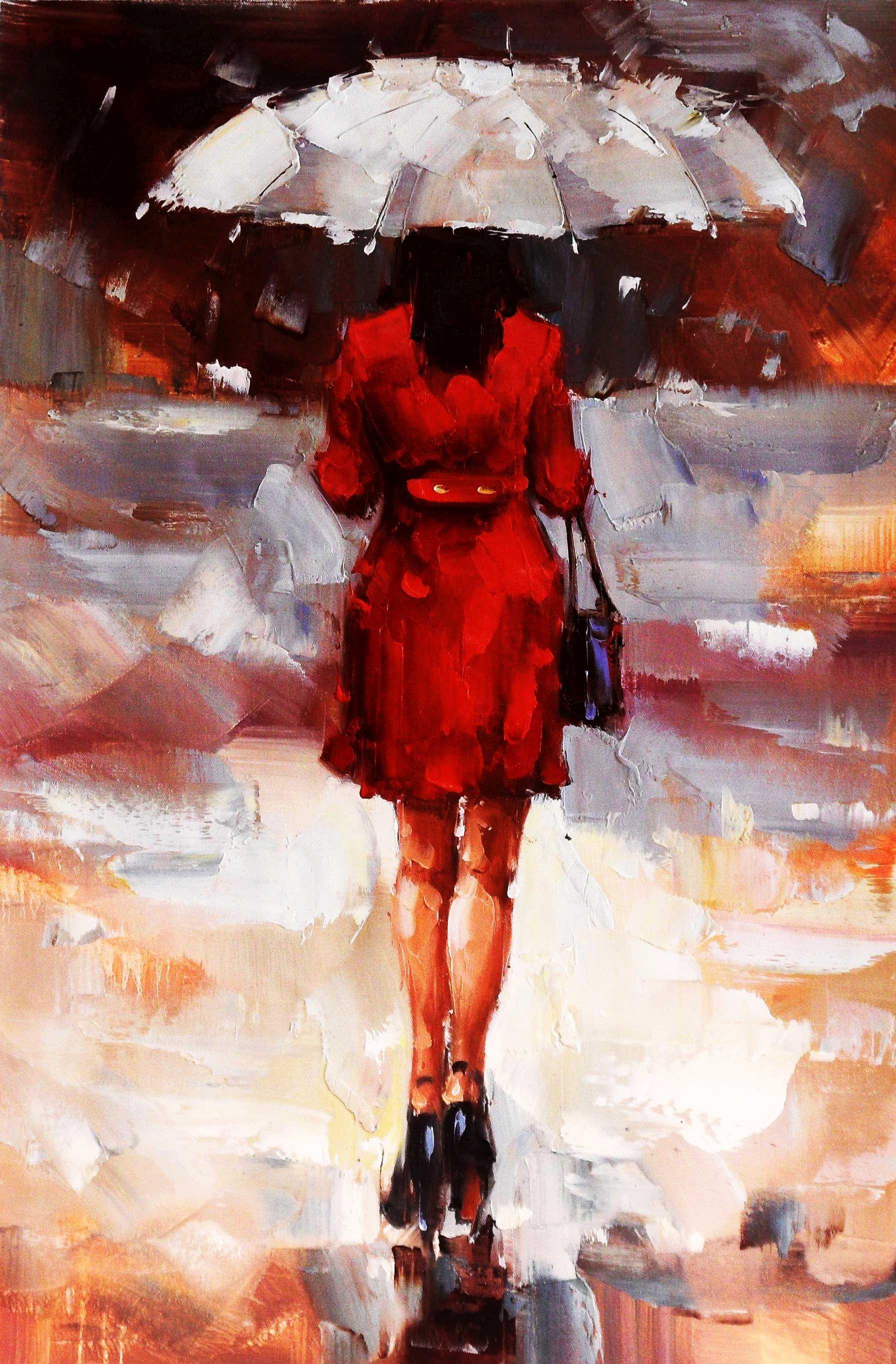 Modern Art - Walking Lady II d95384 60x90cm exquisites Ölbild