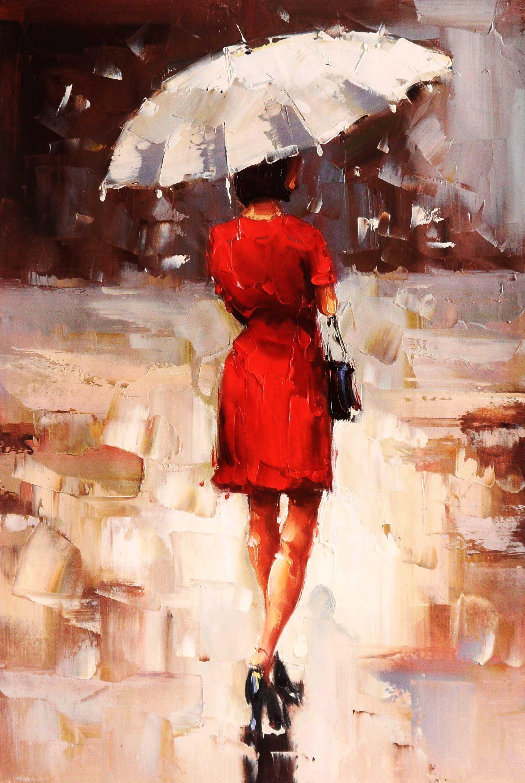 Modern Art - Walking Lady II d95385 60x90cm exquisites Ölbild