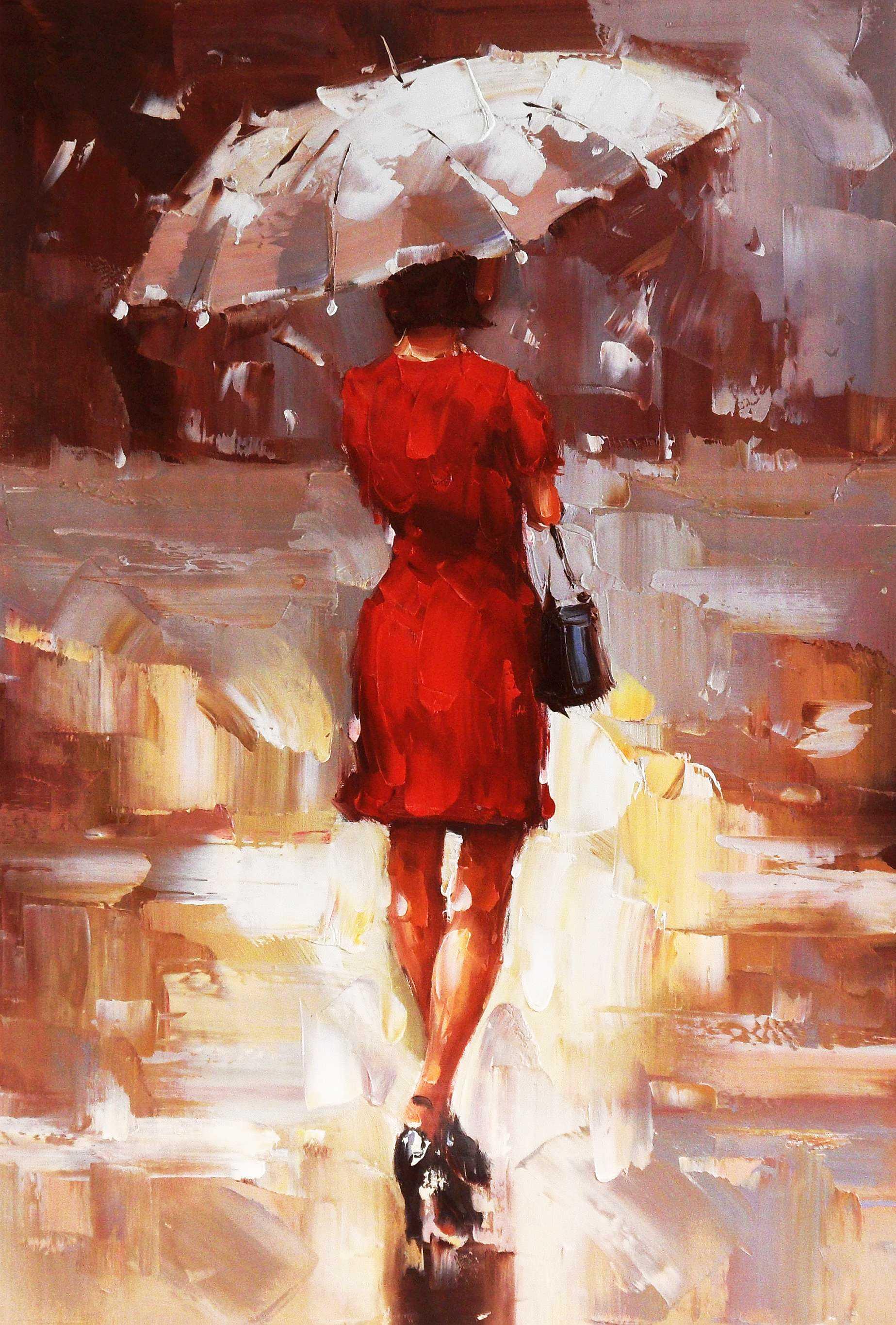 Modern Art - Walking Lady II d95386 60x90cm exquisites Ölbild