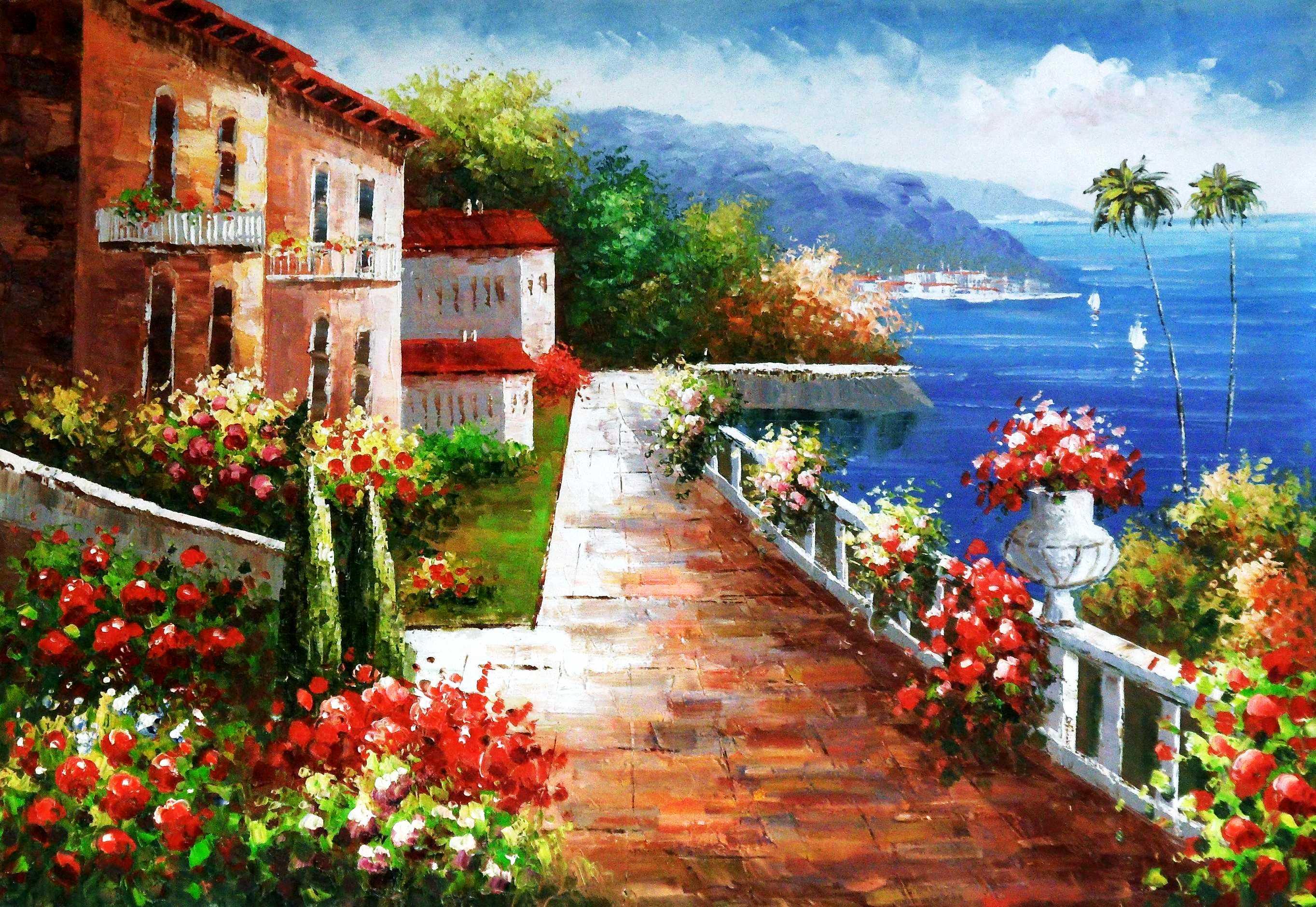 Hotelterrasse mit Meeresblick d95393 60x90cm abstraktes Gemälde handgemalt