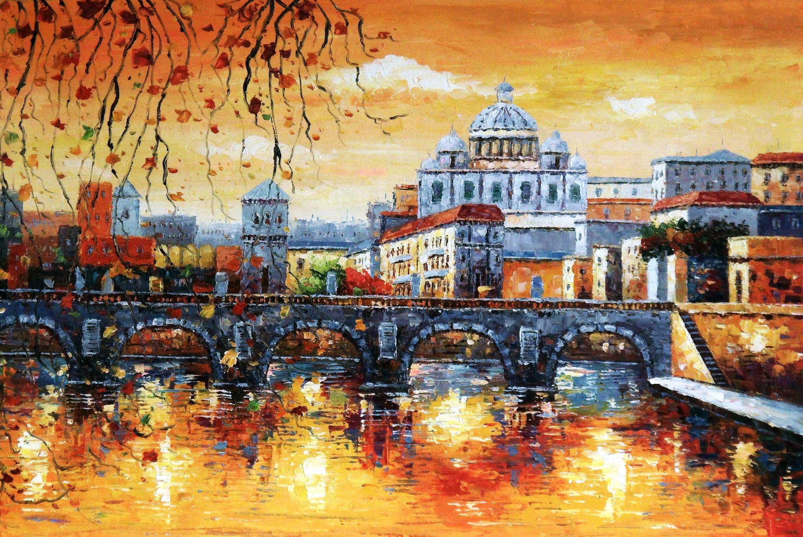 Modern Art - Sant Angelo Brücke Rom d95394 60x90cm beeindruckendes Ölbild