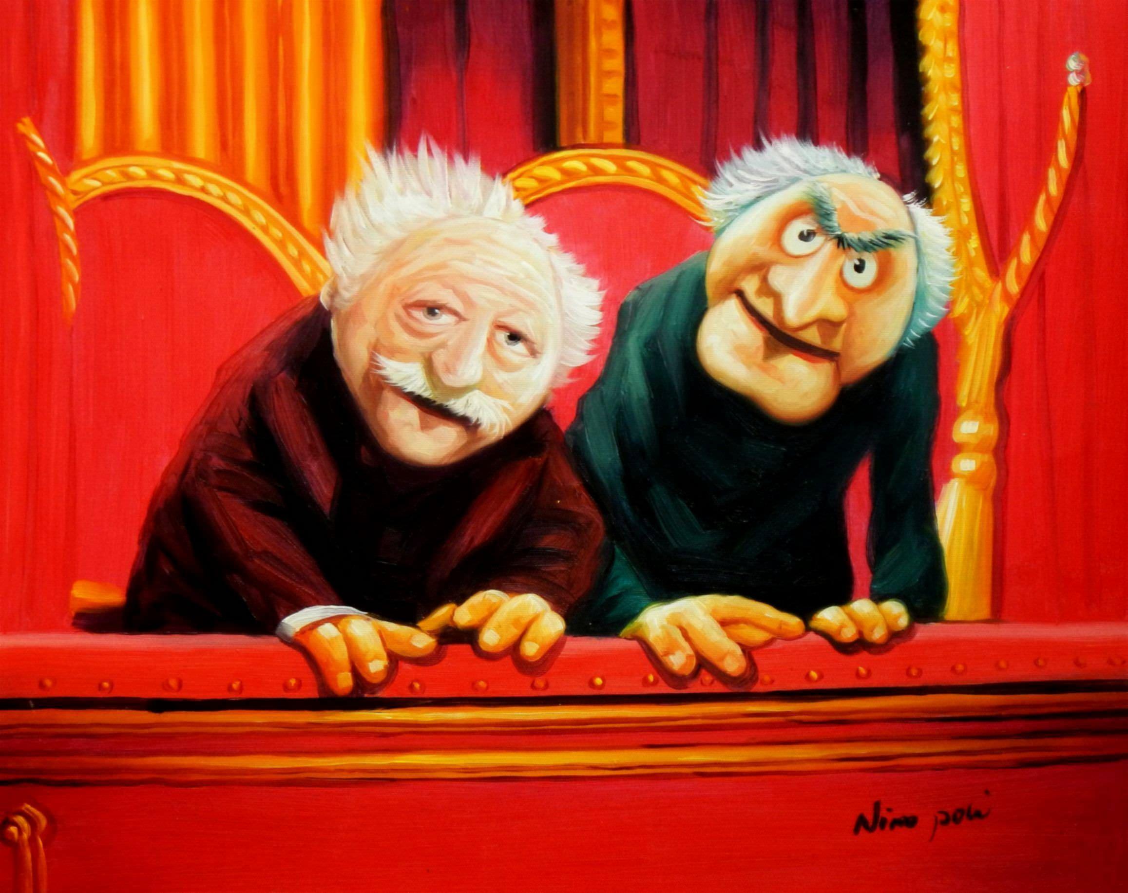 Muppet Opas Waldorf & Statler Pop Art b96015 40x50cm großartiges Ölbild