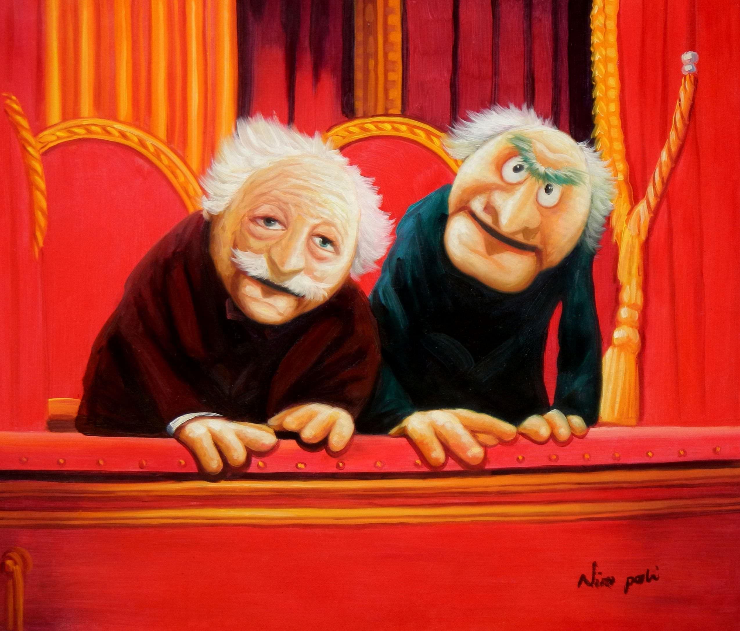 Muppet Opas Waldorf & Statler Pop Art c96056 50x60cm großartiges Ölbild