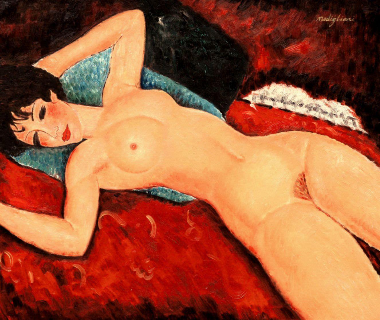 Amedeo Modigliani - Akt mit blauem Kissen c96287 50x60cm exzellentes Ölbild Museumsqualität
