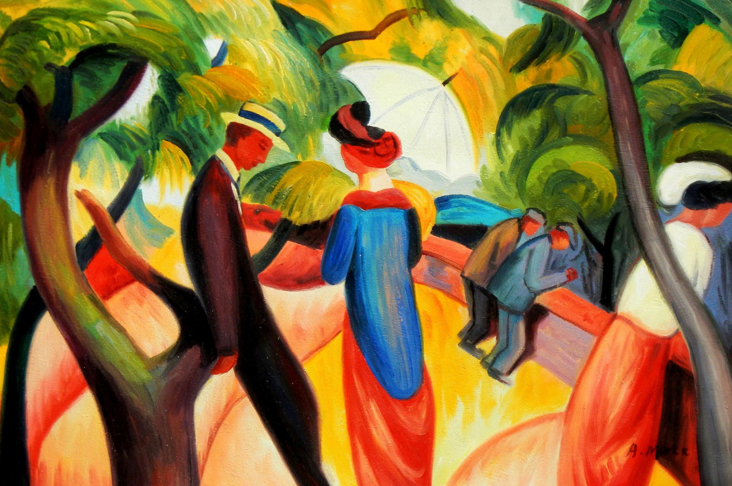 August Macke - Promenade 1913 d96191 G 60x90cm Expressionismus Ölgemälde handgemalt