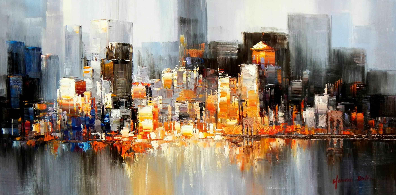 Abstrakt New York Manhattan Skyline bei Nacht f96238 60x120cm Gemälde handgemalt