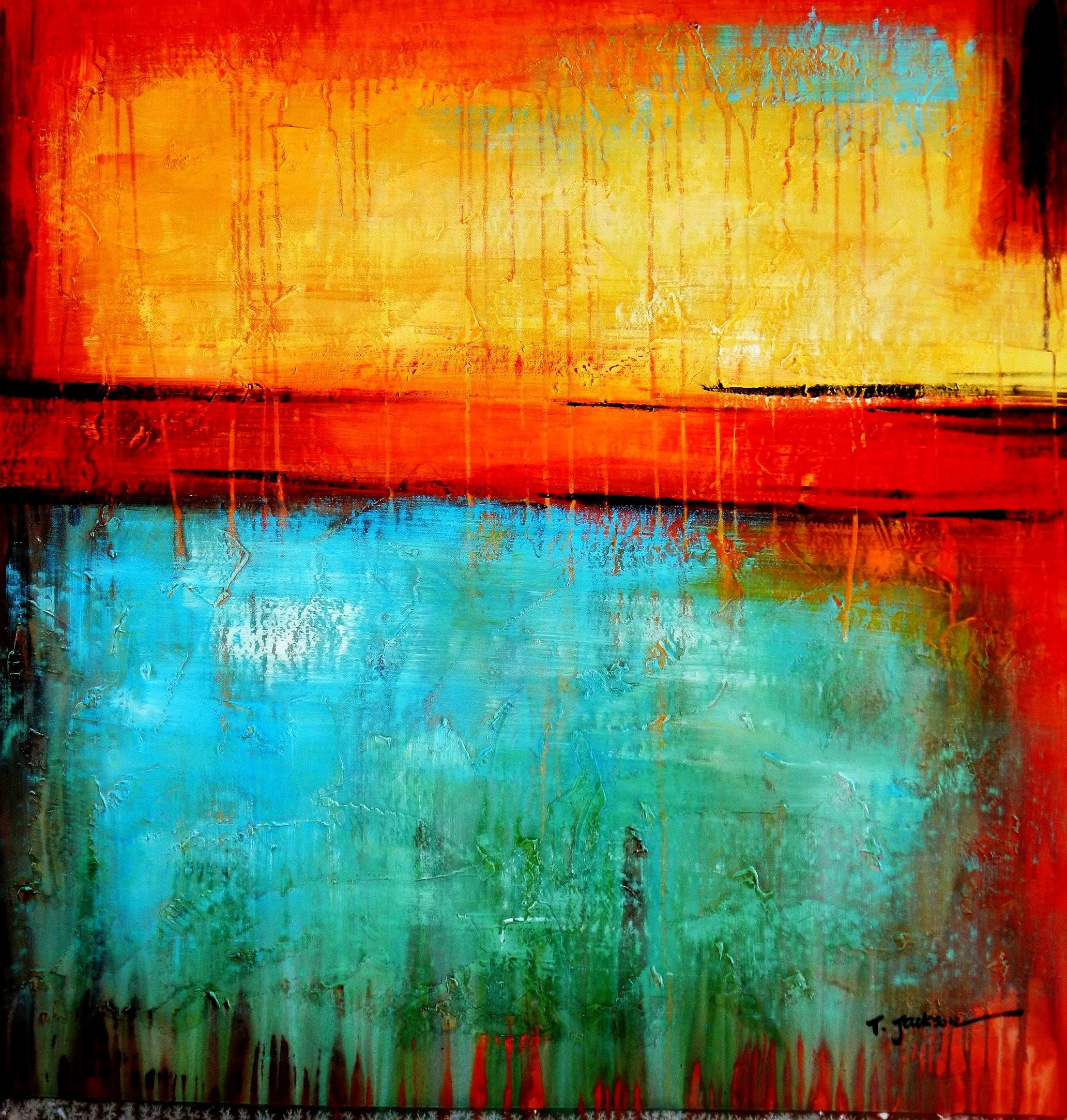 Abstract - Mirage in Babylon h96156 90x90cm abstraktes Ölbild