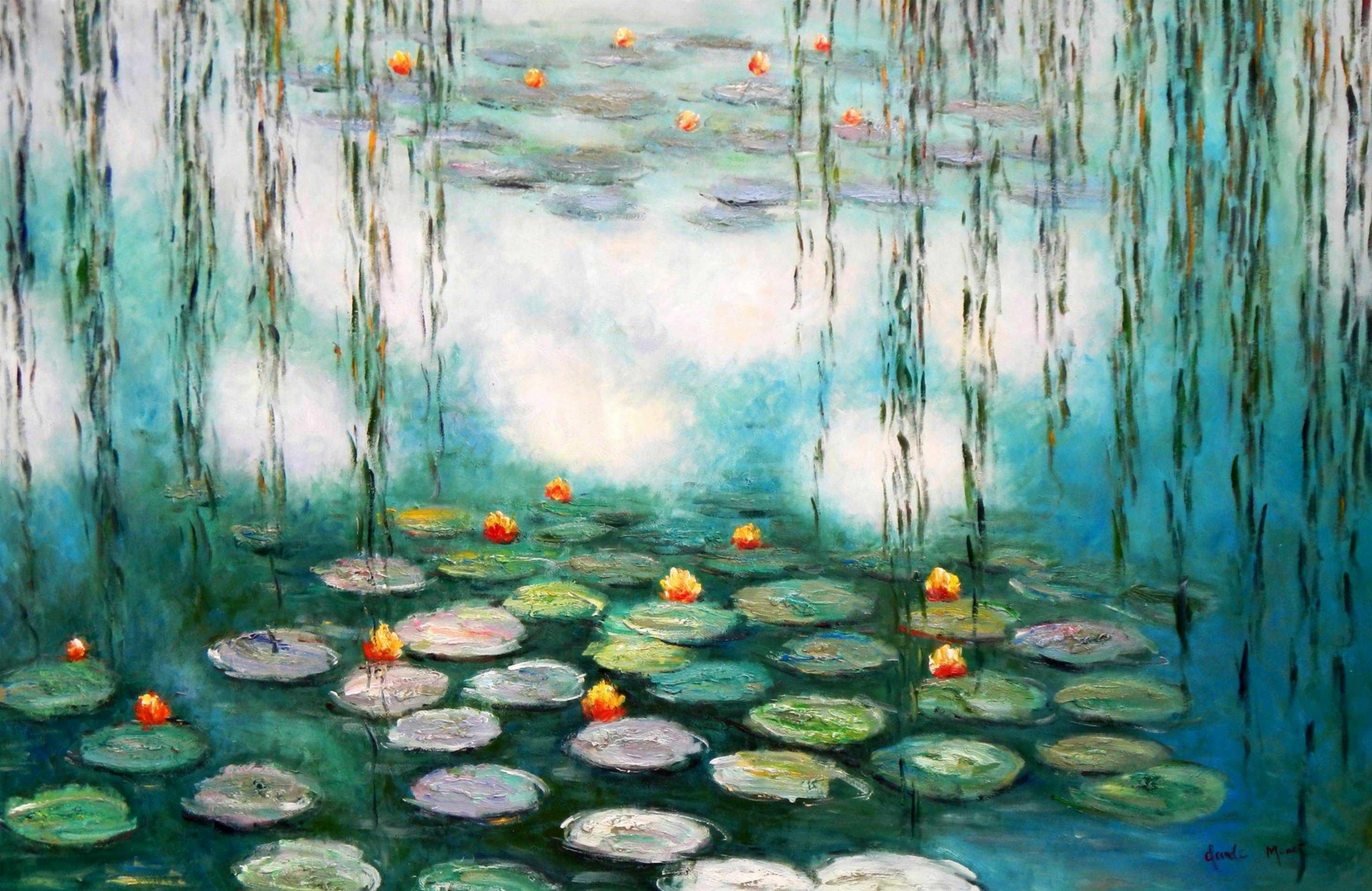 Claude Monet - Seerosen & Weiden Spezialausführung mintgrün p96272 120x180cm Ölbild handgemalt Museumsqualität
