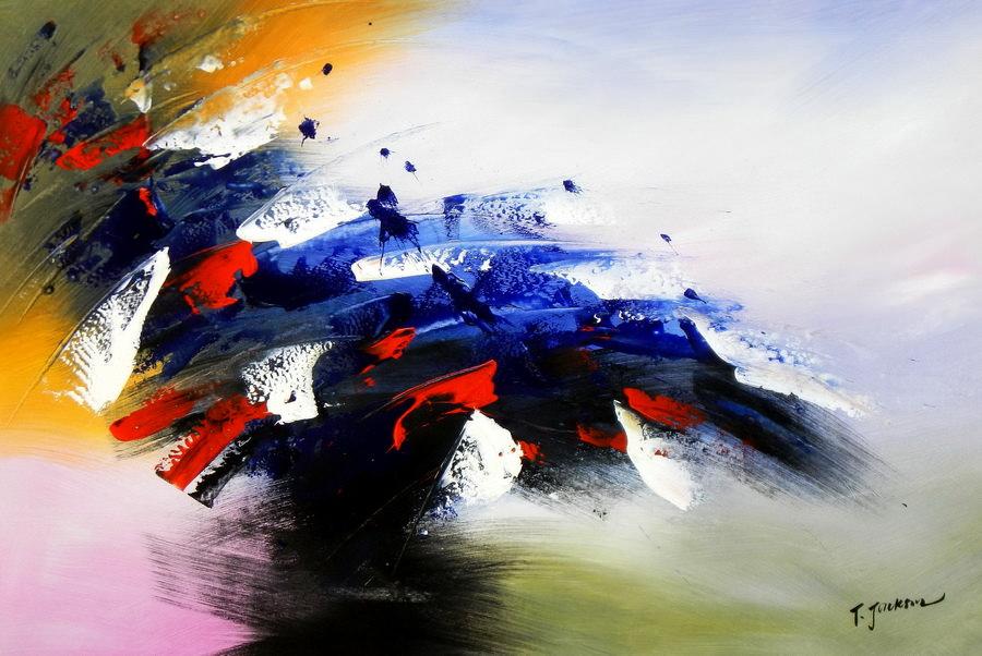 Abstrakt - Sounds of the world d89984 60x90cm abstraktes Ölbild handgemalt