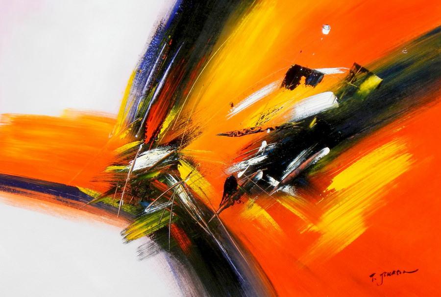 Abstract - Impact study d89988 60x90cm abstraktes Ölgemälde