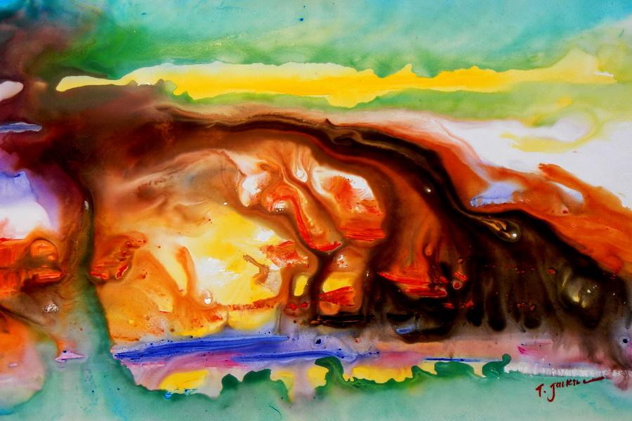Abstrakt - Inklusion der Farben d90011 60x90cm modernes Ölgemälde