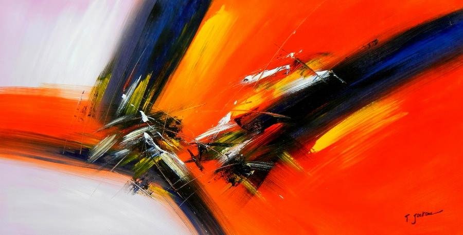 Abstract - Impact study f90028 60x120cm abstraktes Ölgemälde