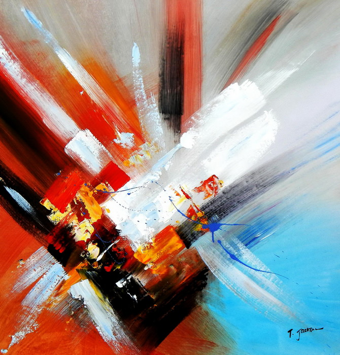 Abstract - clash of colors g90223 80x80cm abstraktes Ölgemälde