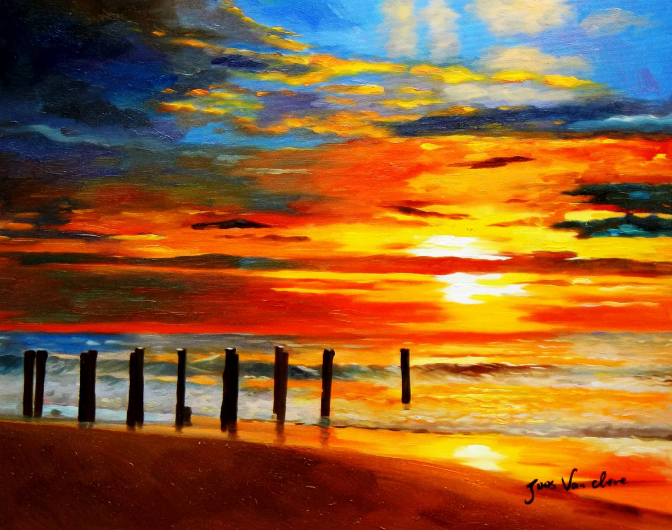 Modern Art - Nordsee Sonnenuntergang b93031 40x50cm handgemaltes Ölbild