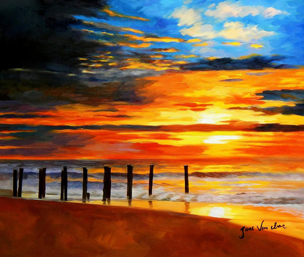 Modern Art - Nordsee Sonnenuntergang c93056 50x60cm handgemaltes Ölbild
