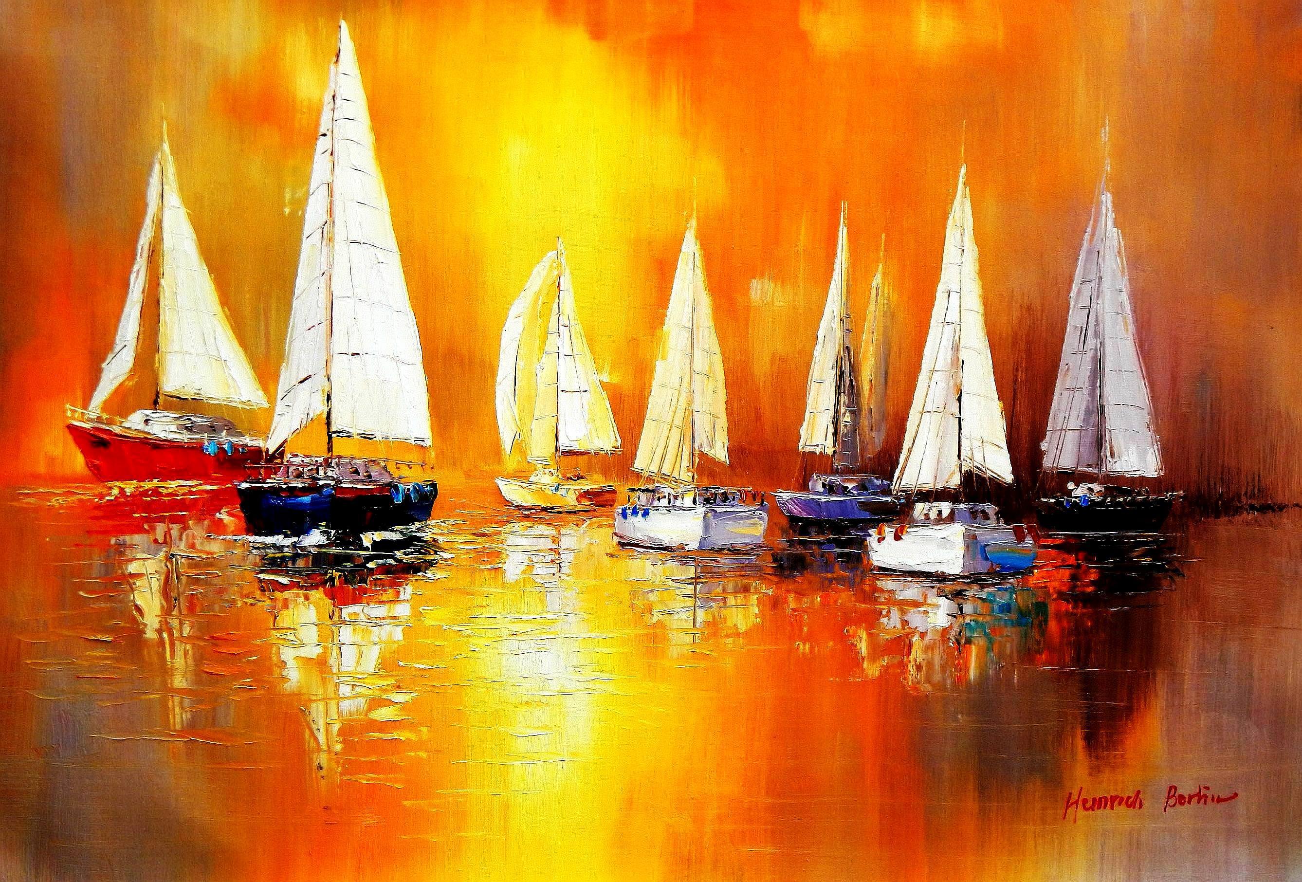 Segelboote auf dem Gardasee d93066 60x90cm modernes Gemälde handgemalt