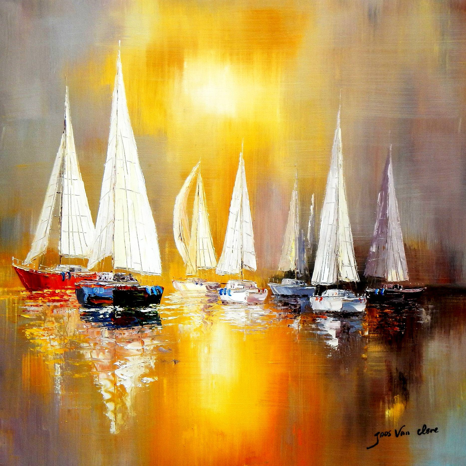 Segelboote auf dem Gardasee g93103 80x80cm modernes Gemälde handgemalt