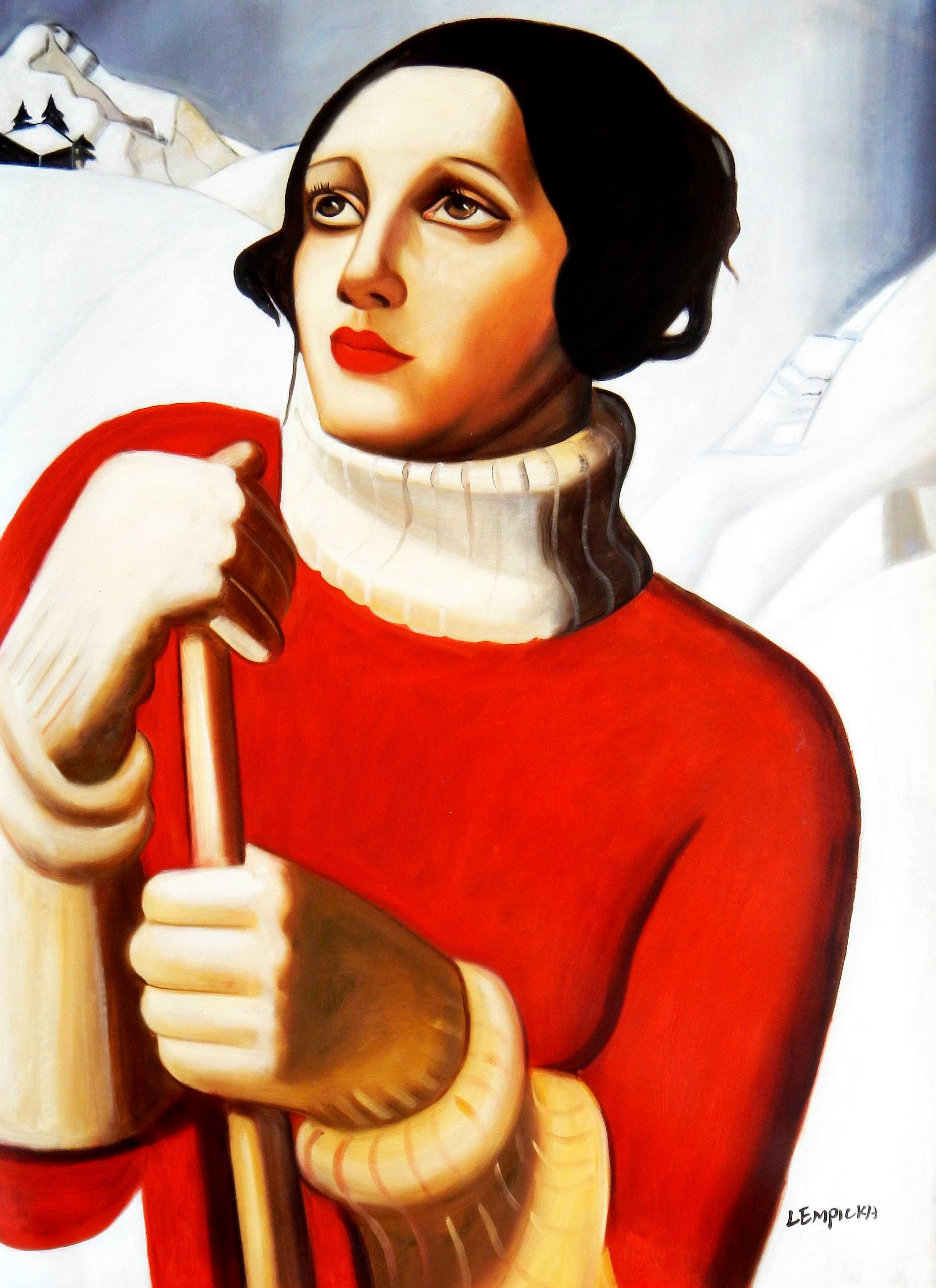 Homage to T. Lempicka - Sain Moritz i92965 80x110cm handgemaltes Gemälde