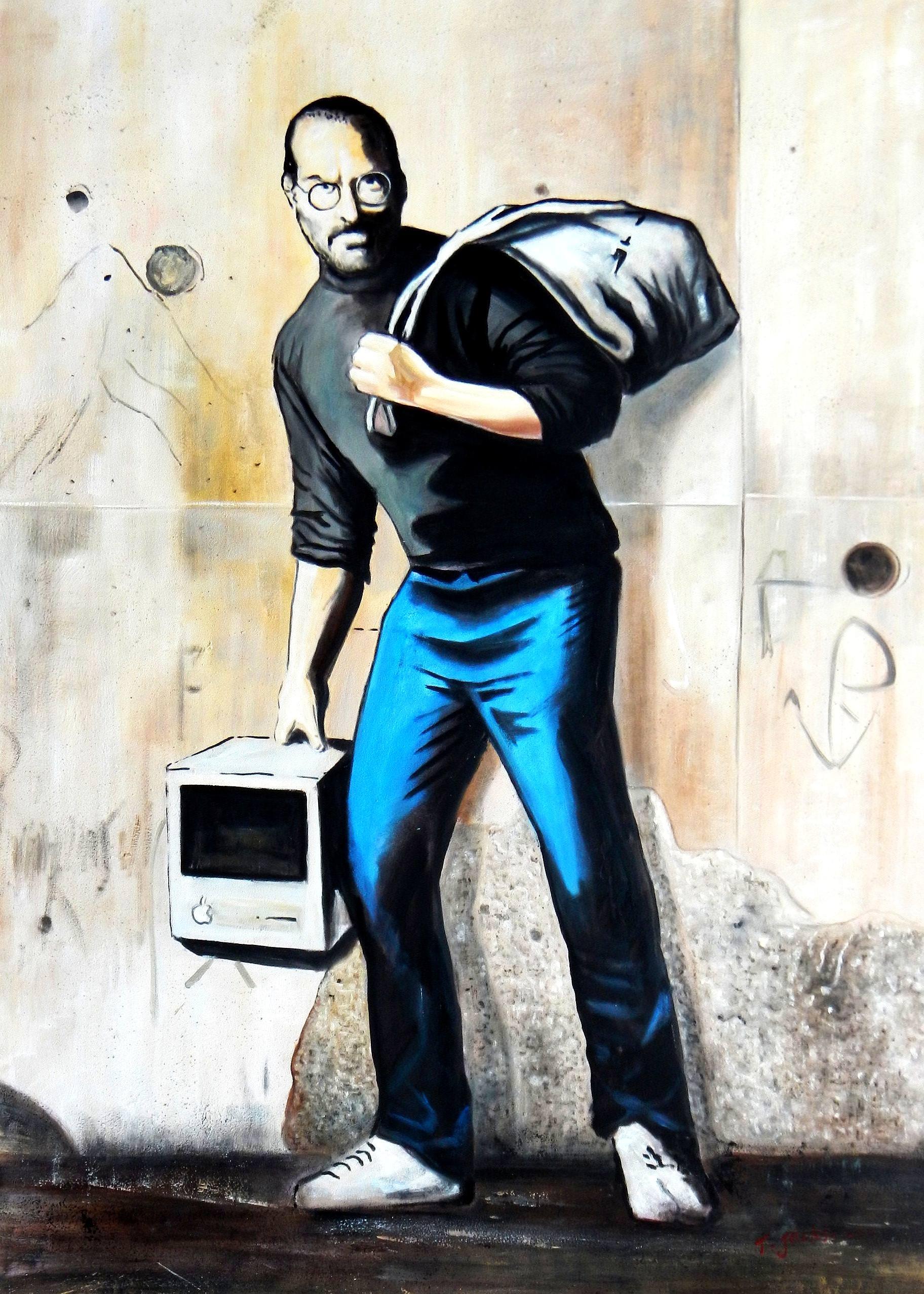 Homage to Banksy - Steves Job i93119 80x110cm exquisites Ölgemälde