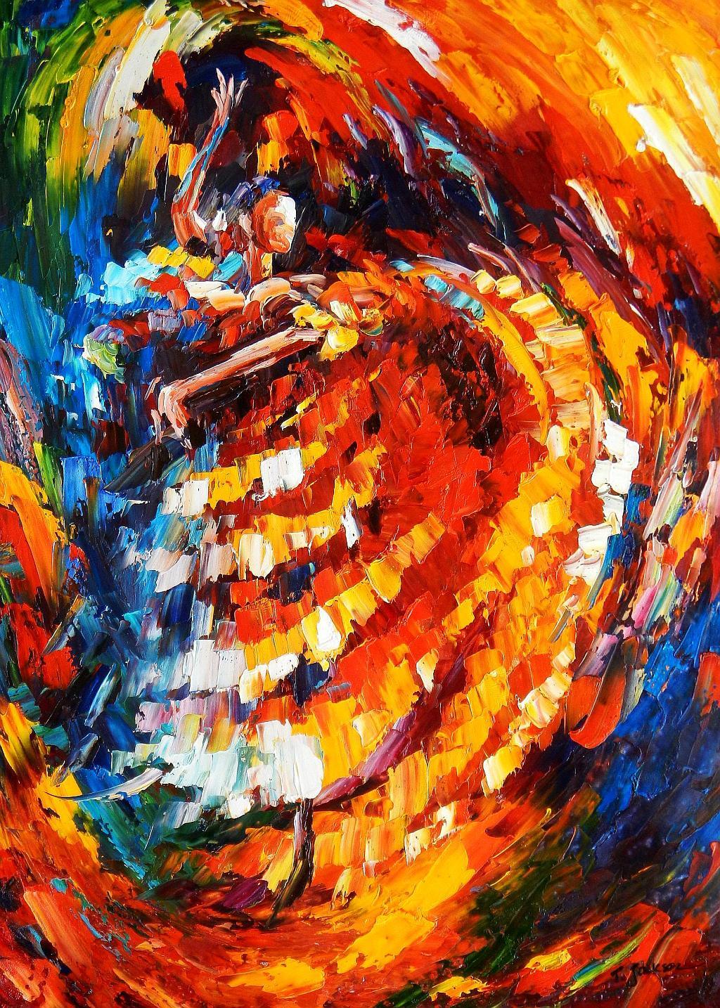 Modern Art - Passion der Tänzerin i93121 80x110cm abstraktes Ölbild