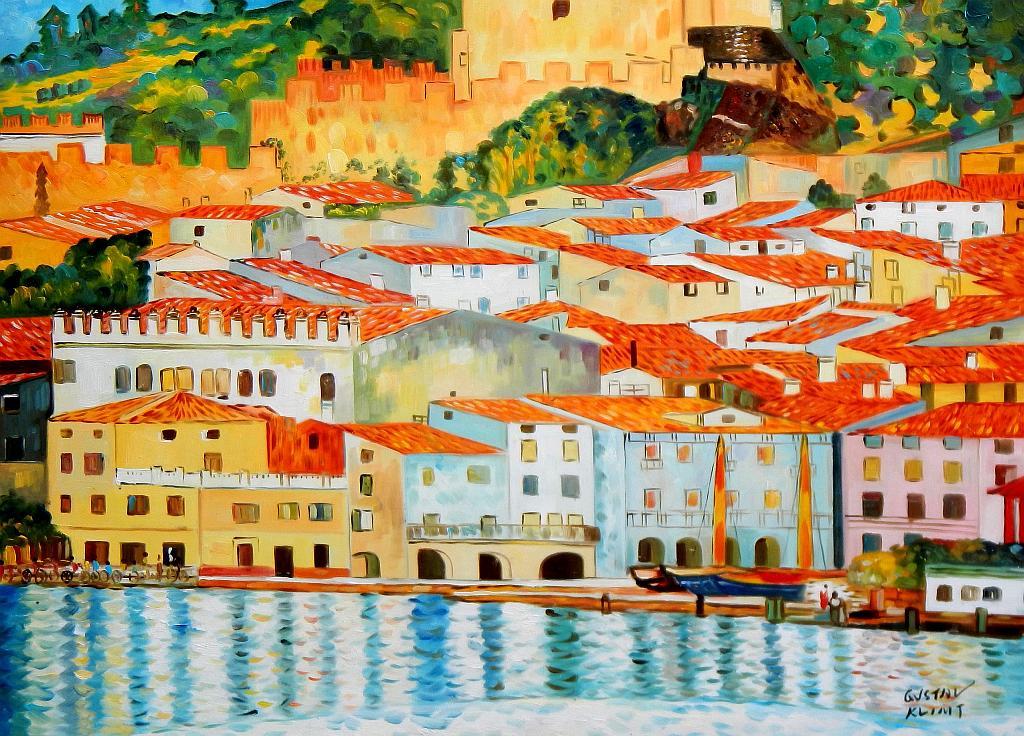 Gustav Klimt - Malcesine am Gardasee i93127 80x110cm Ölbild handgemalt