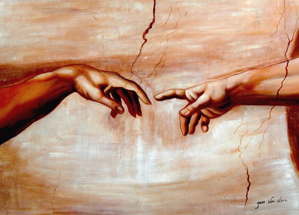 Michelangelo - Die Erschaffung Adams i93129 80x110cm imposantes Ölgemälde
